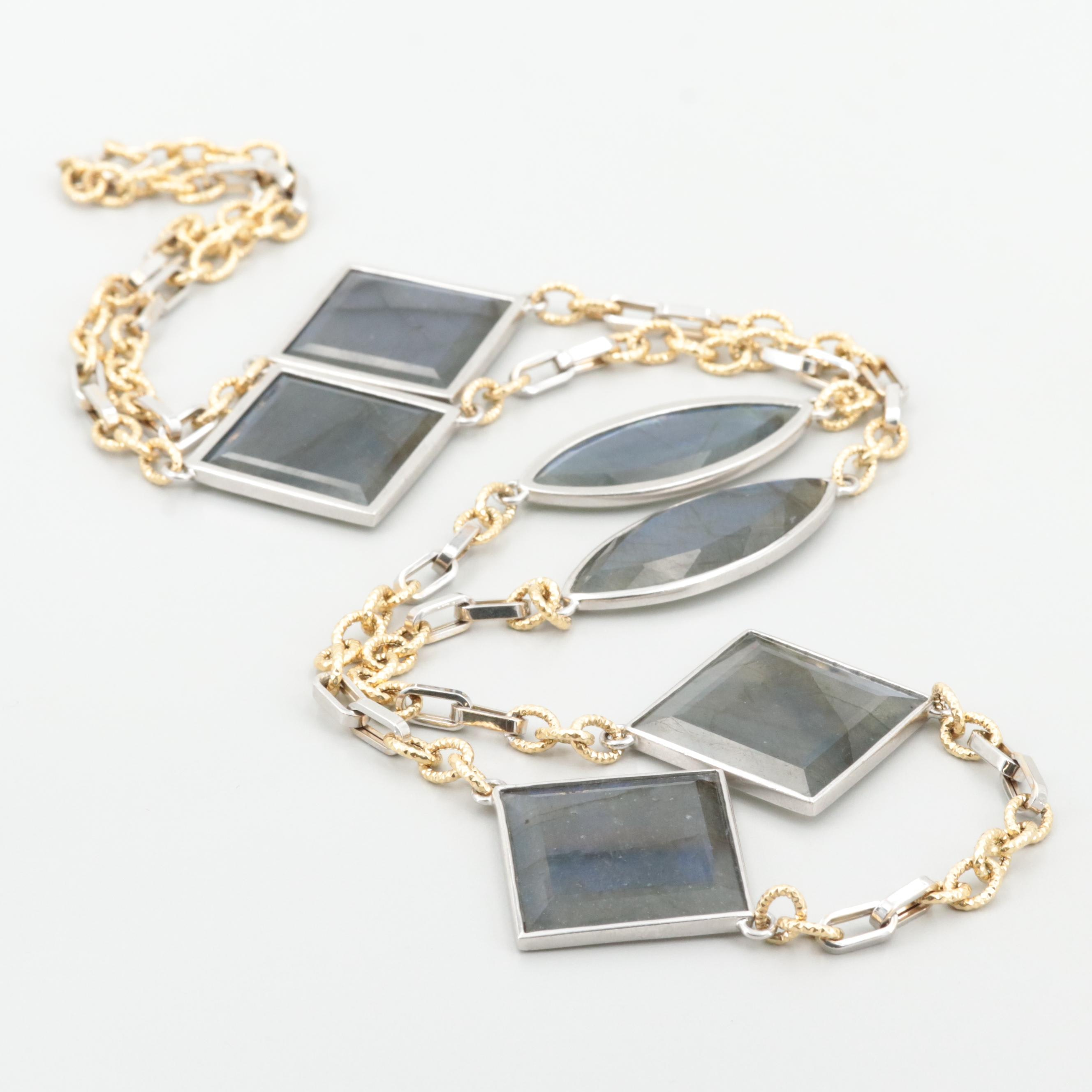 18K White and Yellow Gold Labradorite Necklace with Sterling Silver Accents