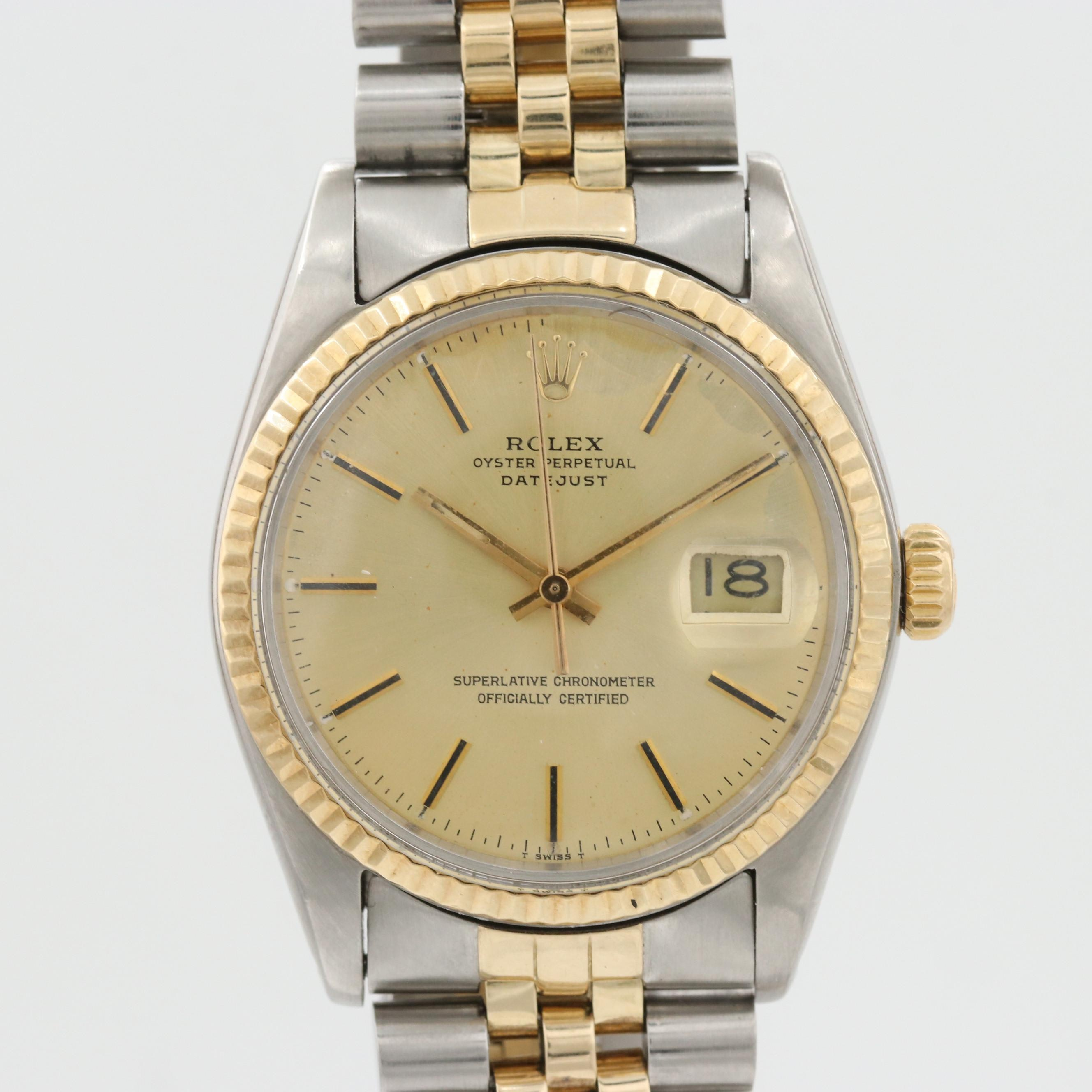Vintage Rolex Datejust Stainless Steel and 14K Yellow Gold Wristwatch, 1978