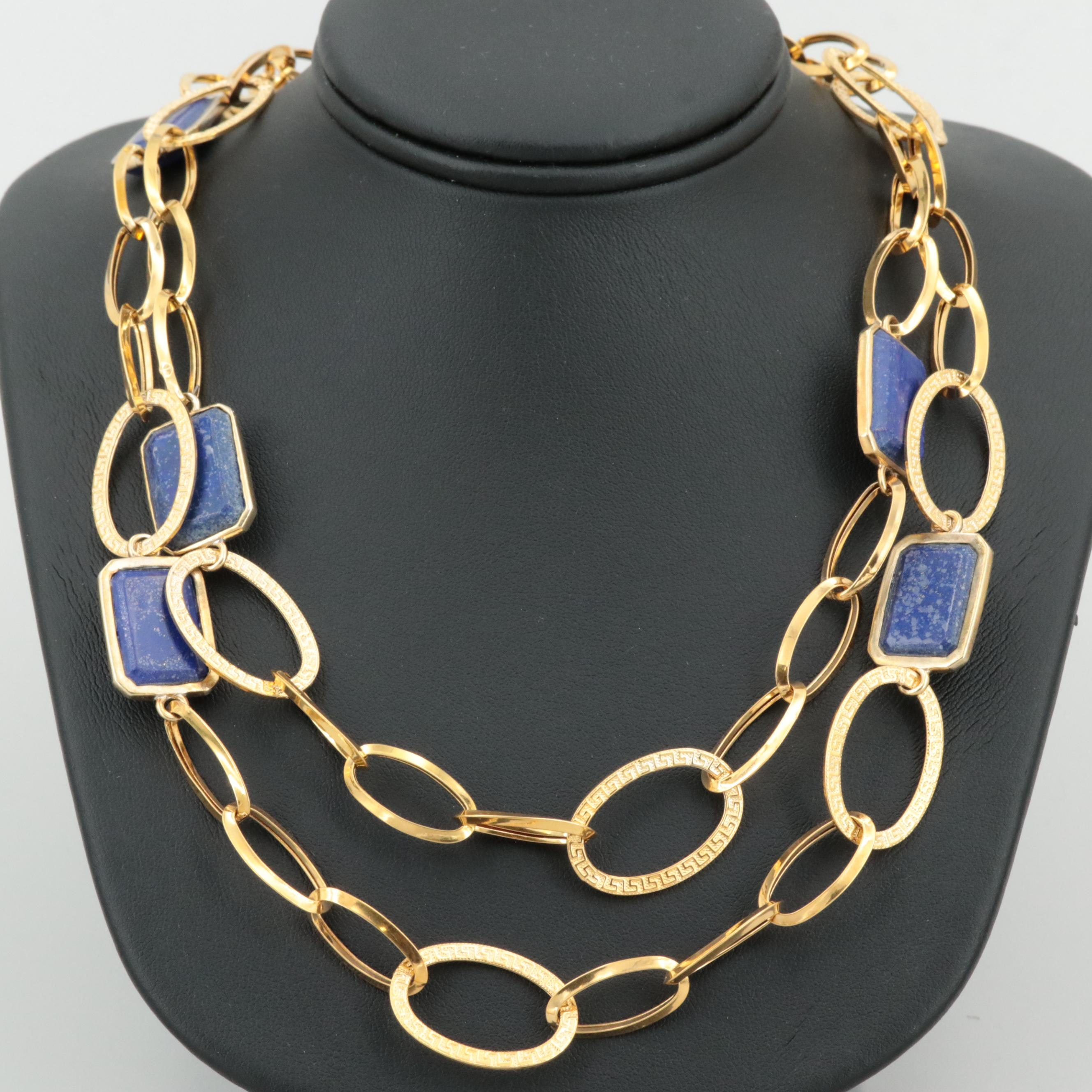 Italian 18K Yellow Gold Lapis Lazuli Necklace with Sterling Silver Accents