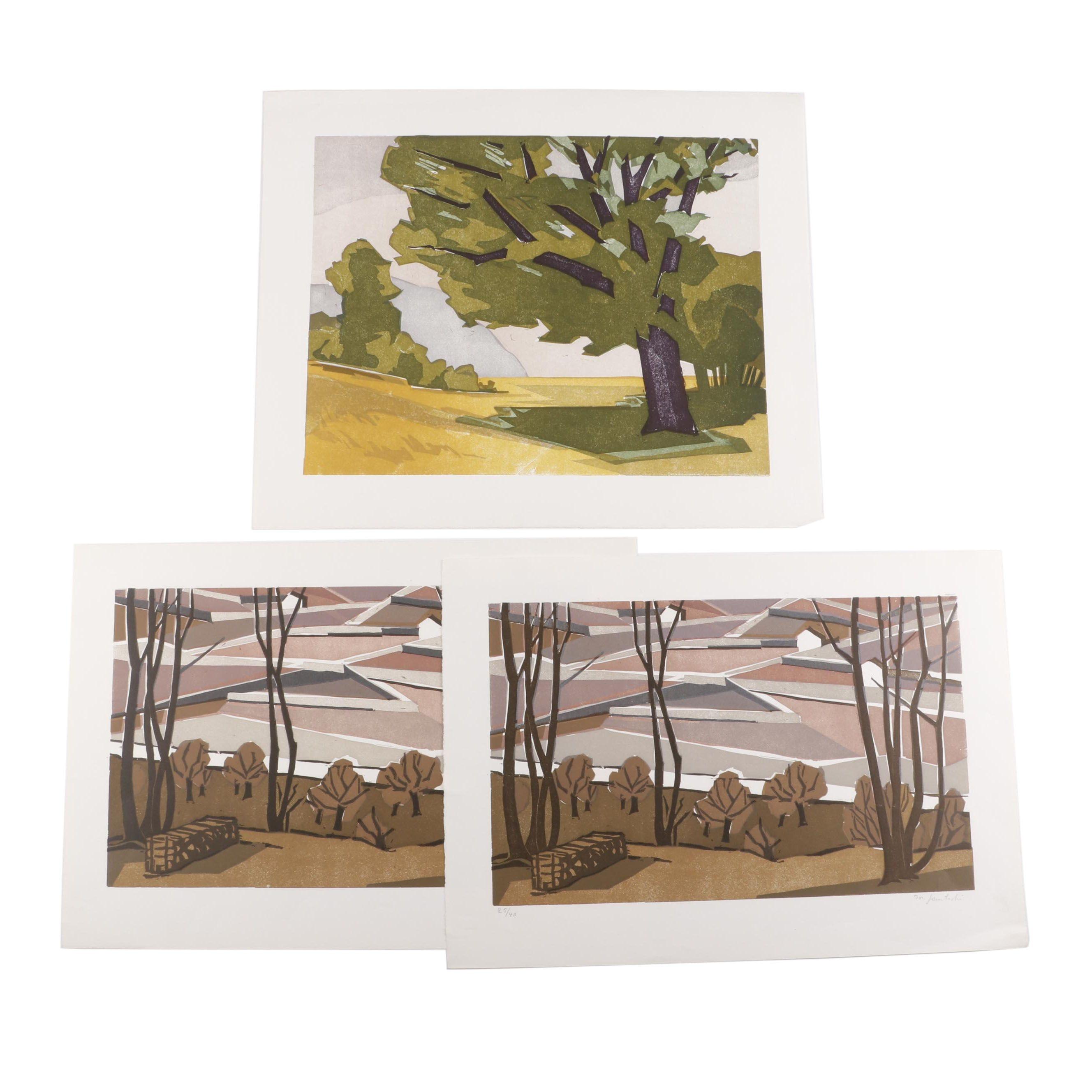 Joseph Gautschi Landscape Woodblocks