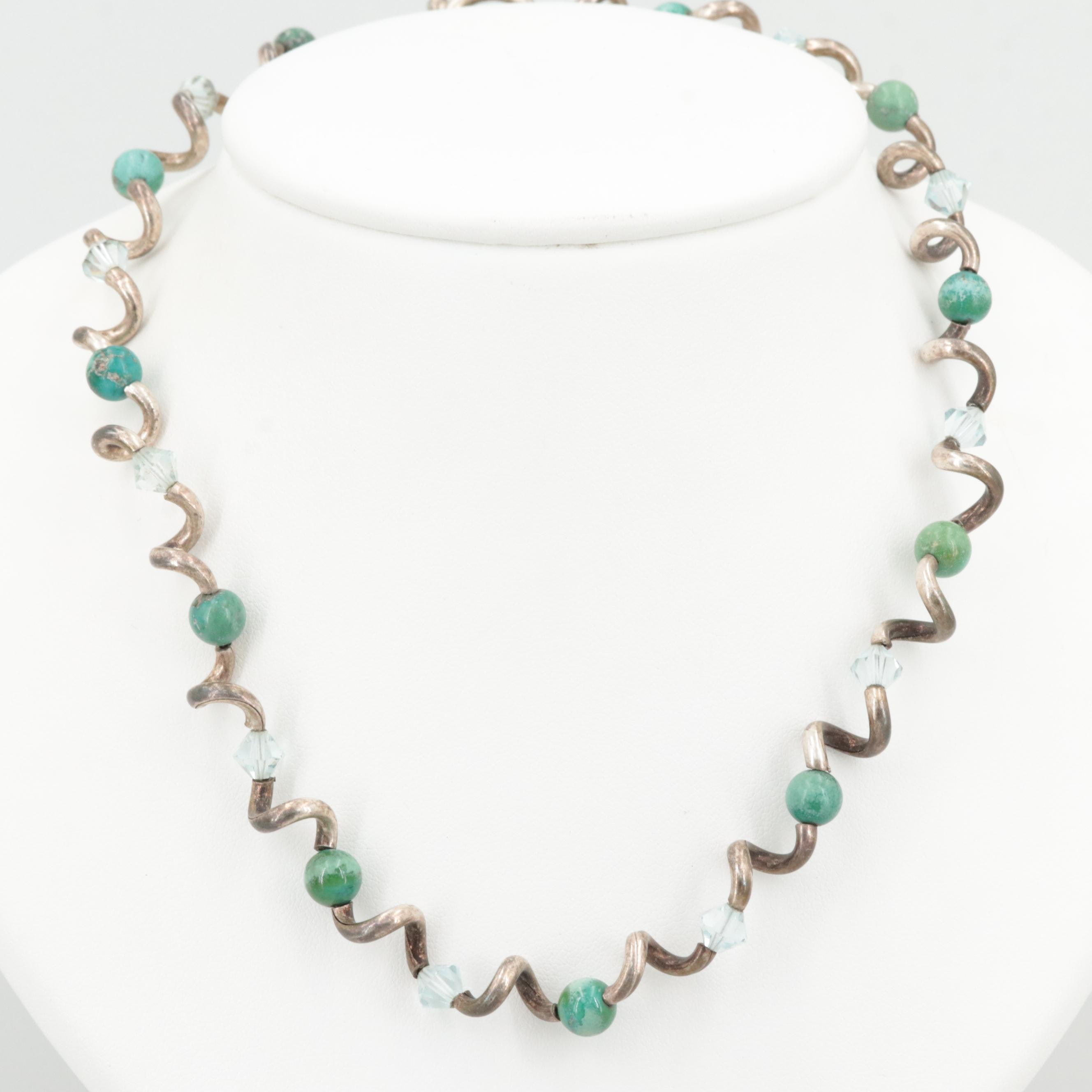 Sterling Silver Turquoise and Faceted Glass Corkscrew Necklace