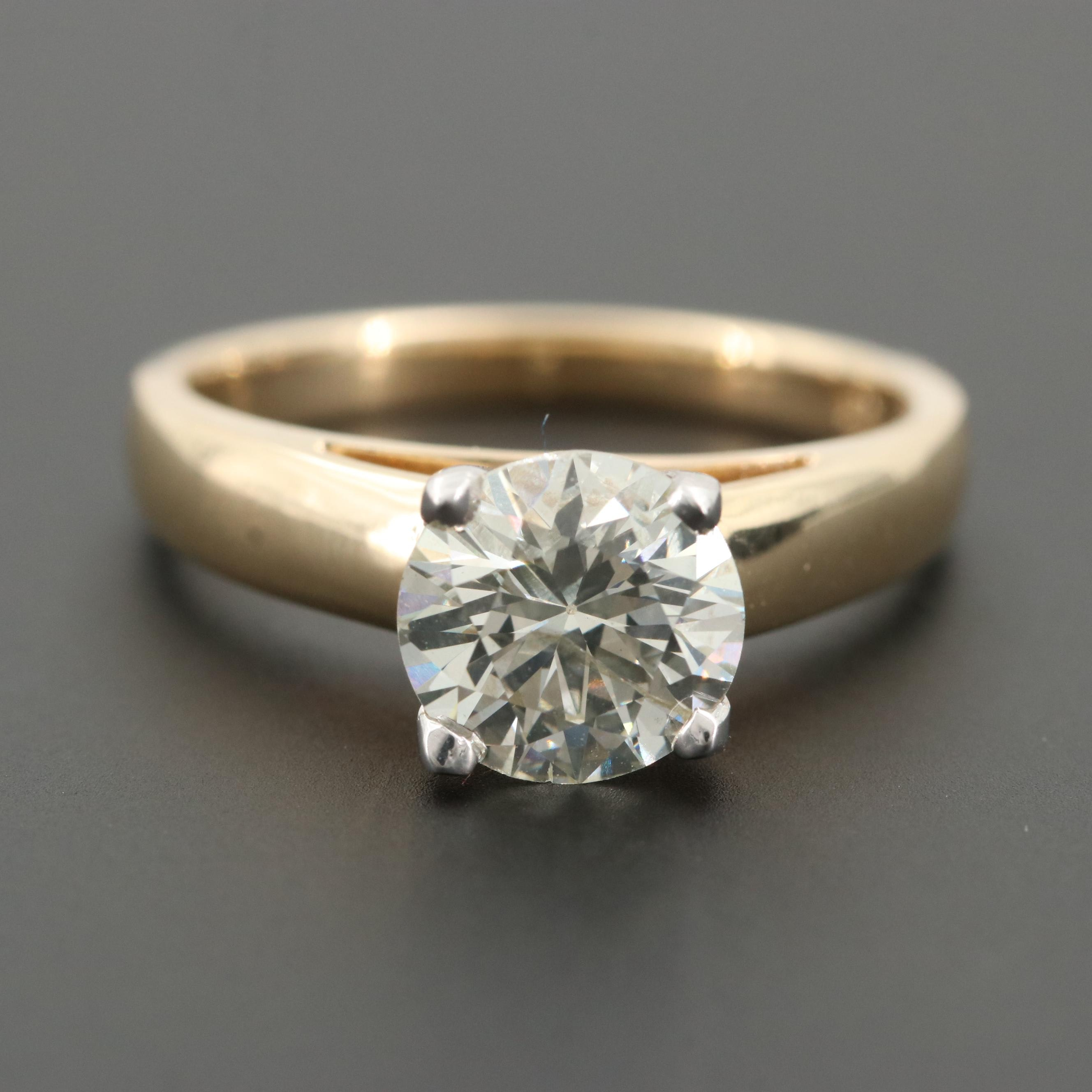 14K Yellow Gold 1.84 CT Diamond Ring with White Gold Head