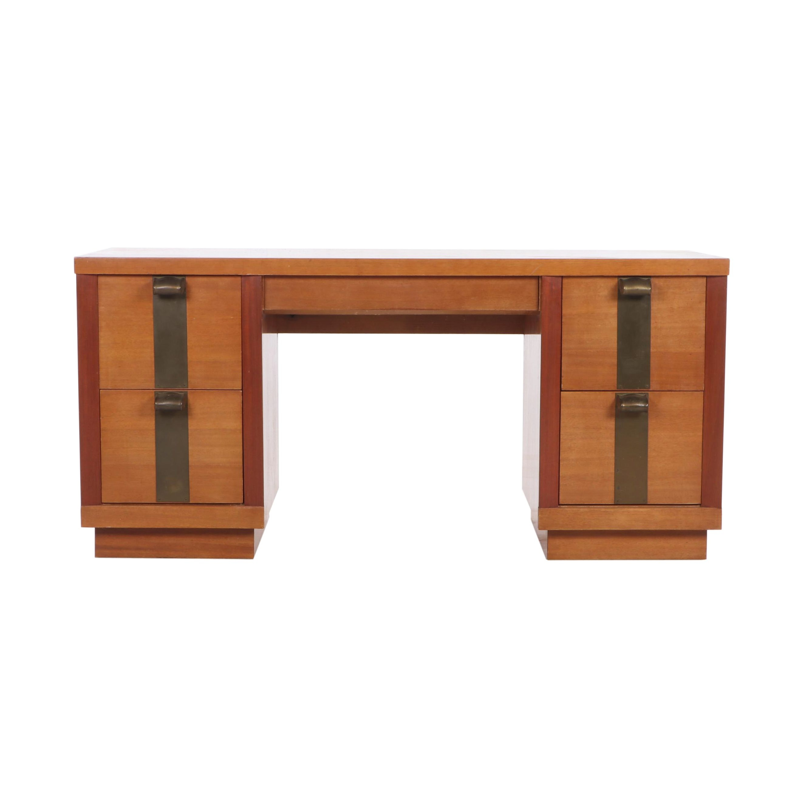 American of Martinsville Oak and Cherry Dressing Table, Mid 20th Century