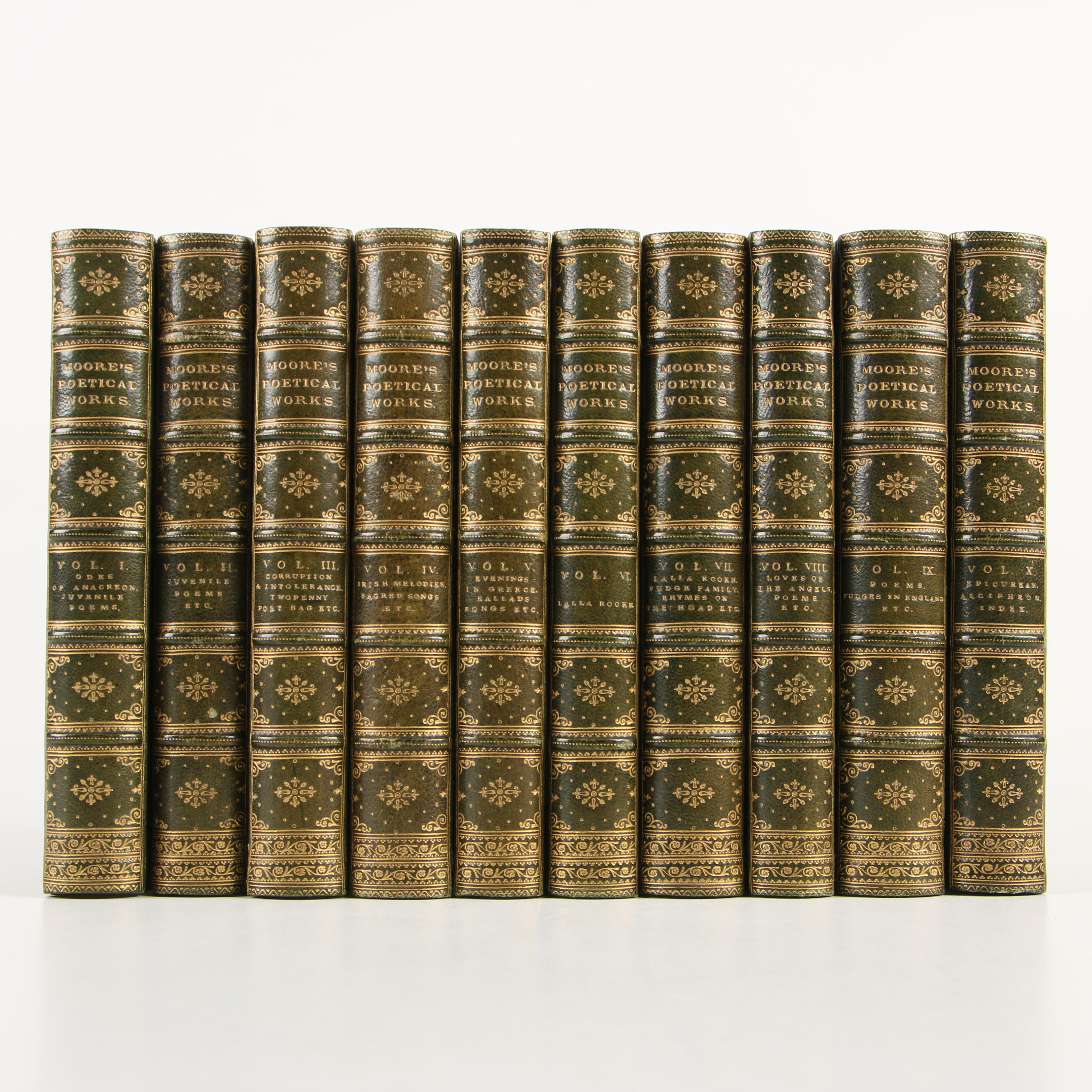 """Complete """"The Poetical Works of Thomas Moore"""" in Ten Volumes, 1840"""