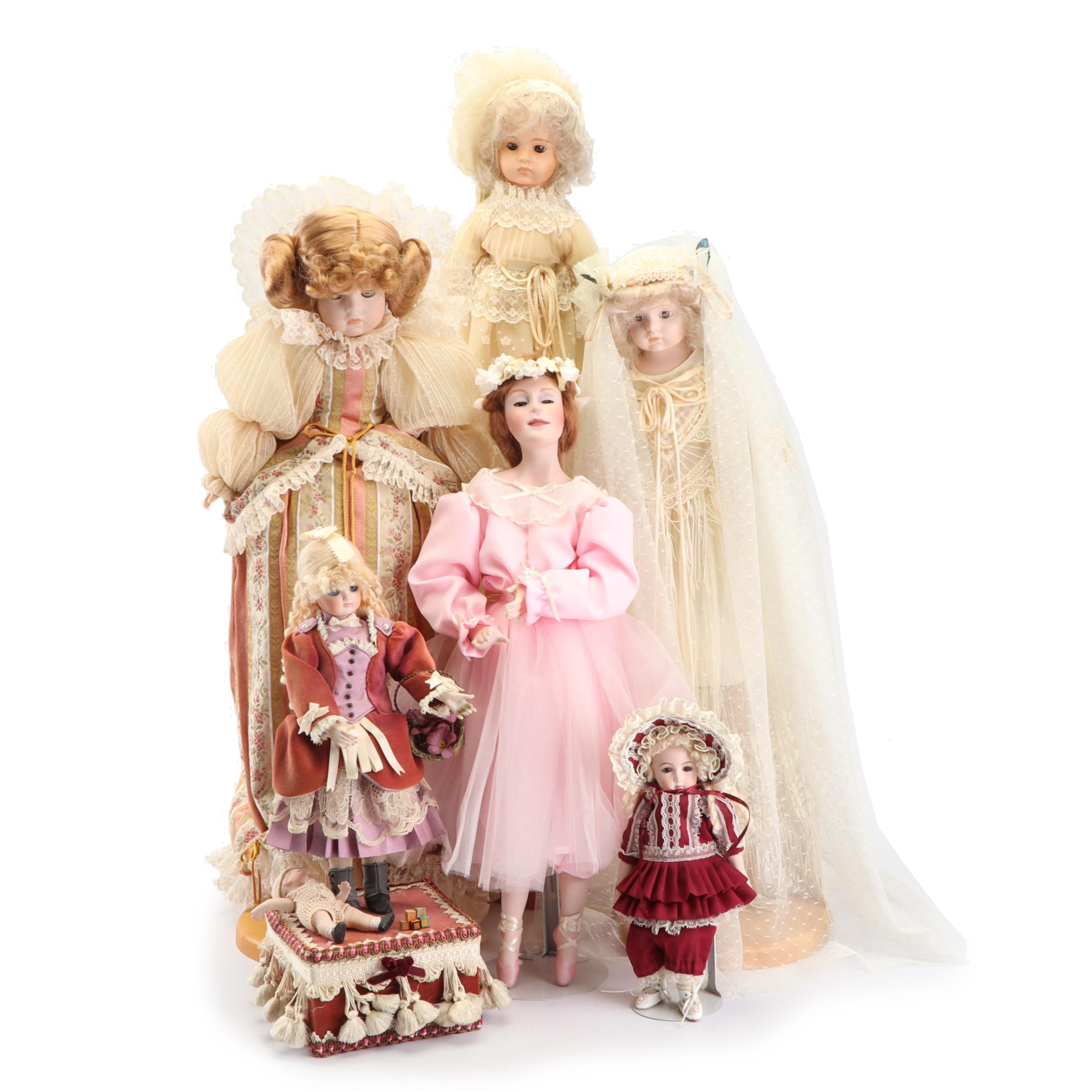 "Collection of Dolls Including Porcelain ""Rebecca"" by Abigail Brahms, 1980s"