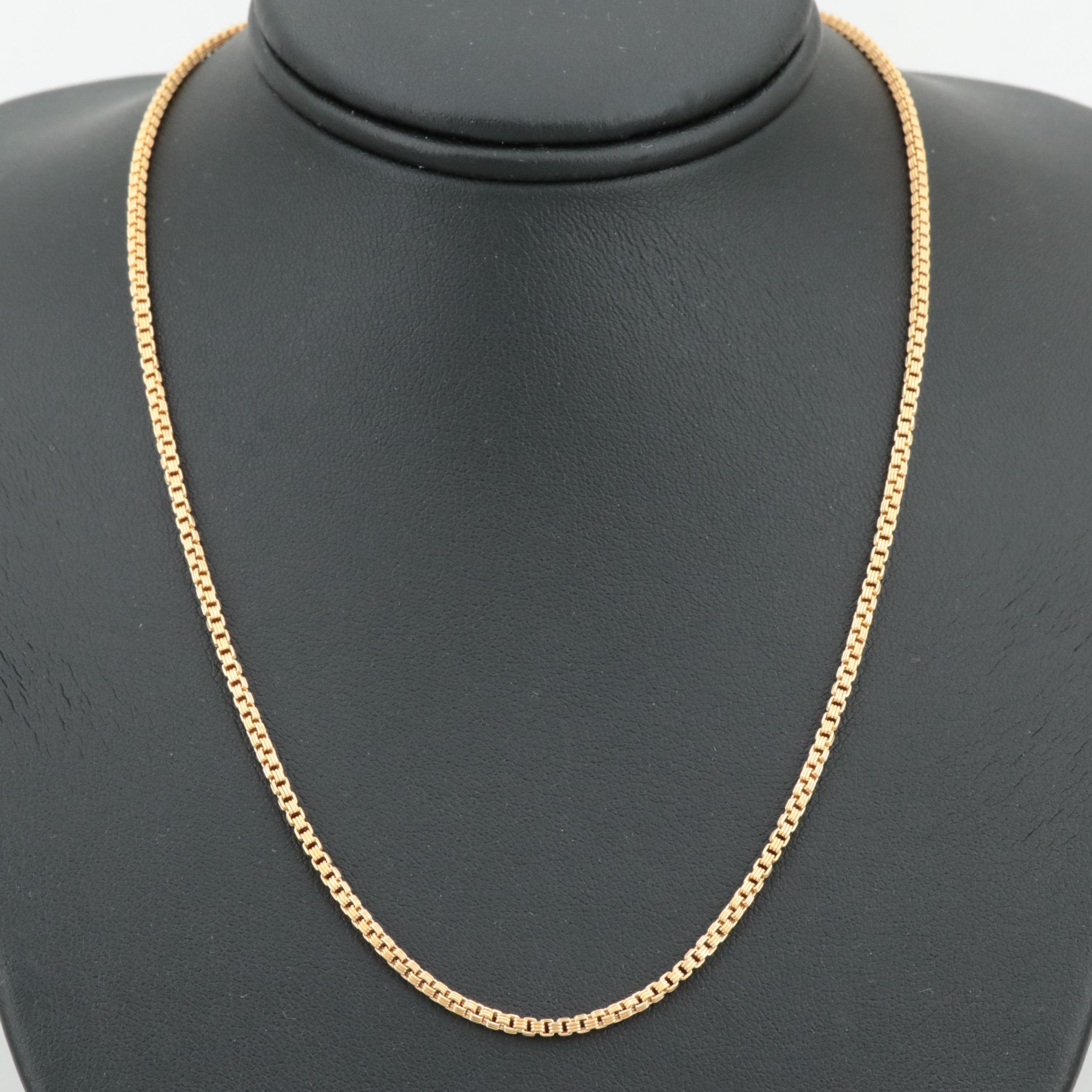 18K Yellow Gold Triple Box Link Necklace