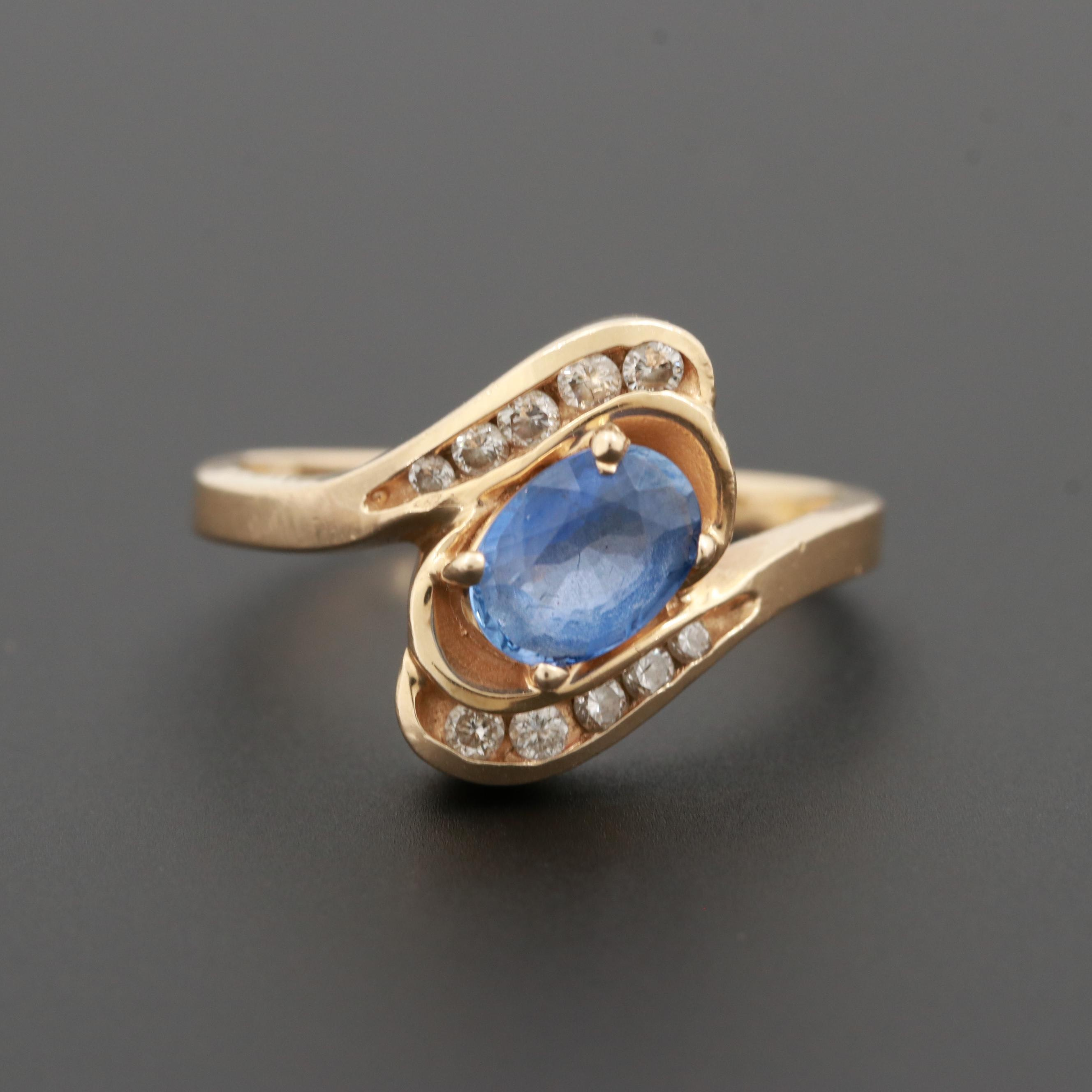 Le Vian 14K Yellow Gold Tanzanite and Diamond Bypass Ring