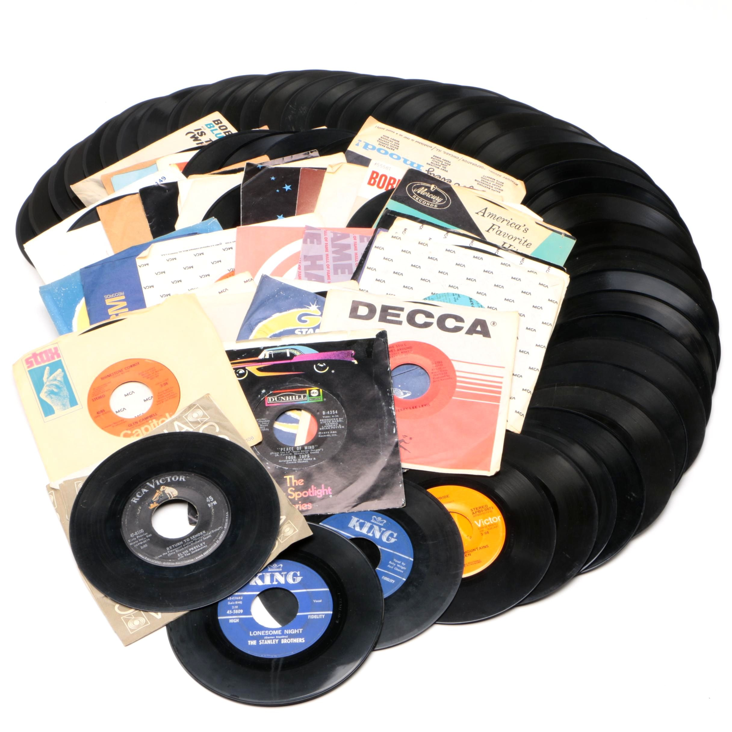 45 RPM Records Including 1950s and Early Country, Elvis, and King Label Records