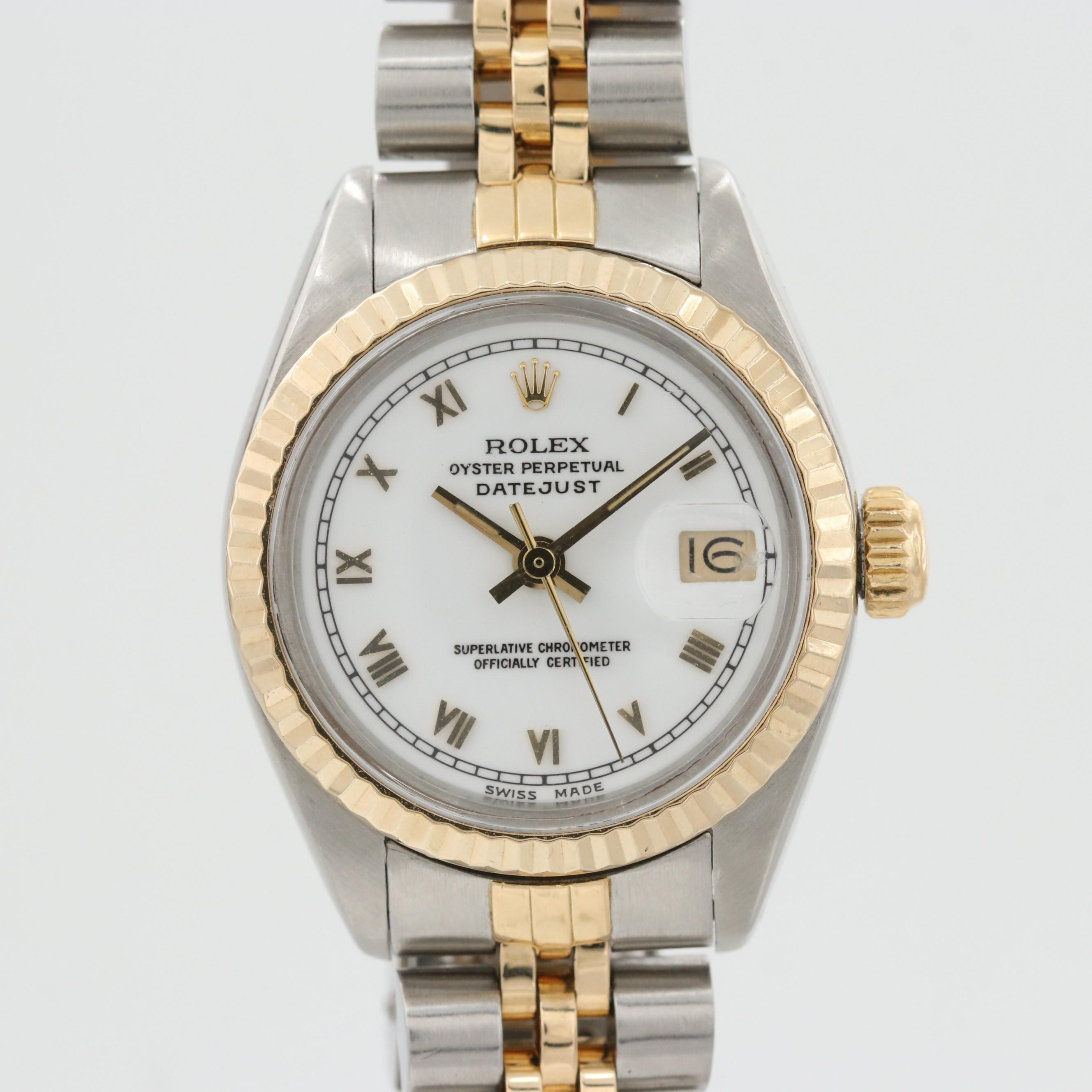 Vintage Rolex Datejust Stainless Steel and 14K Yellow Gold Wristwatch, 1982