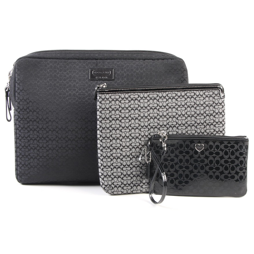 Coach Laptop and Tablet Sleeves in Black and Gray Canvas with Leather Wristlet