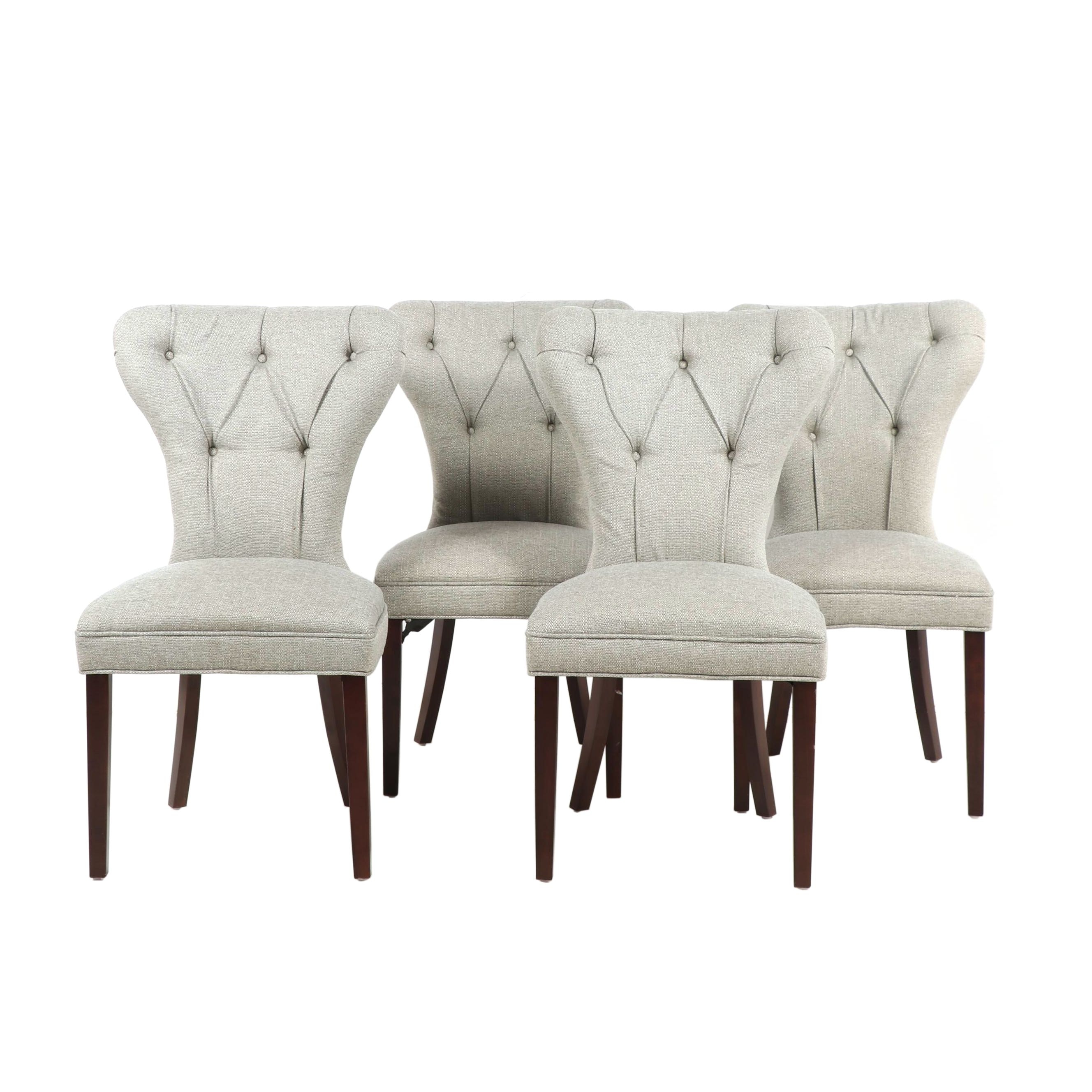 Upholstered Tufted Dining Chairs, Set of Four