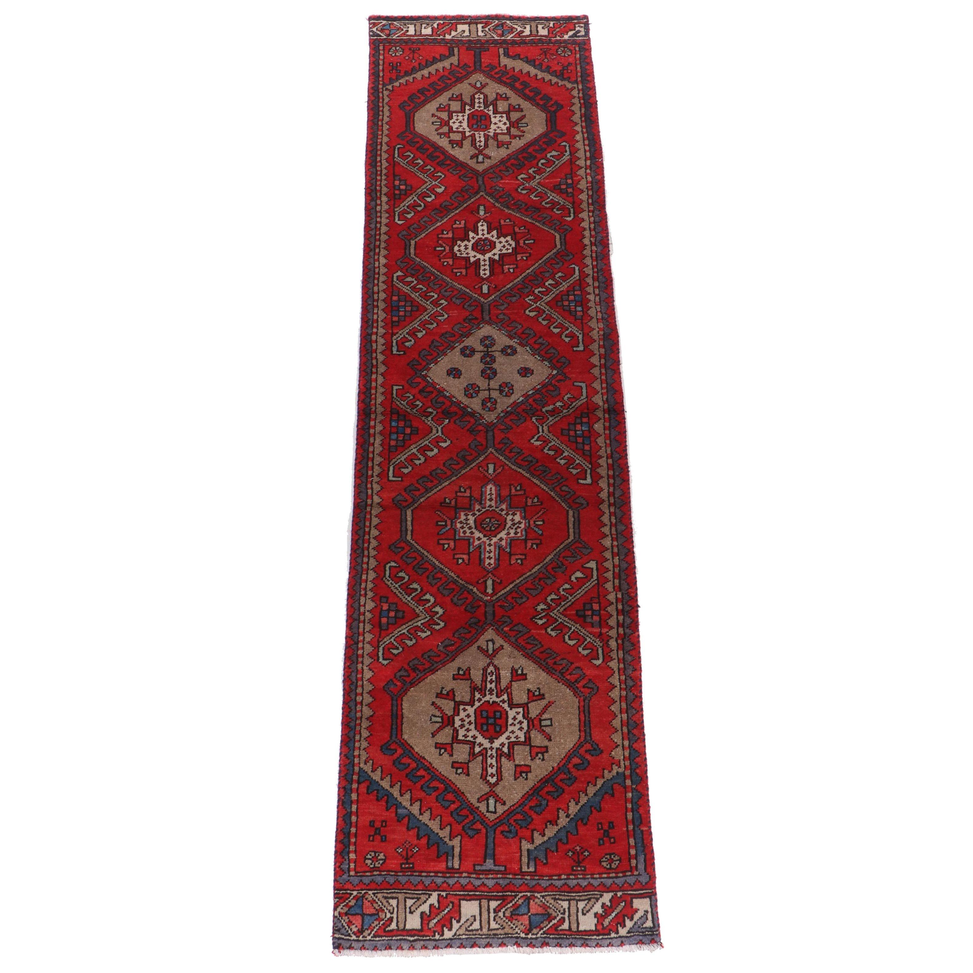 Hand-Knotted Kazak Wool Carpet Runner