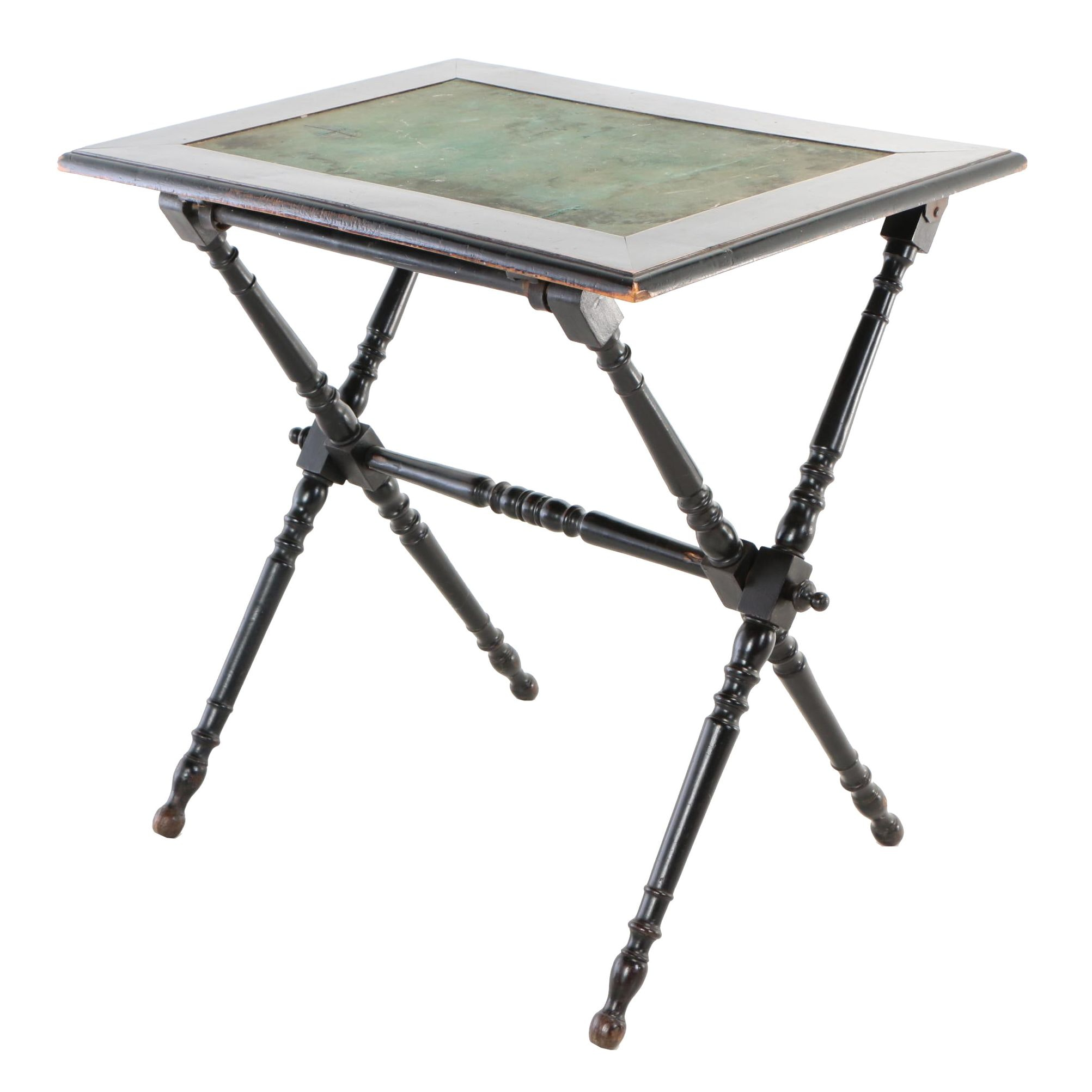Victorian Ebonized Folding Side Table, Late 19th Century