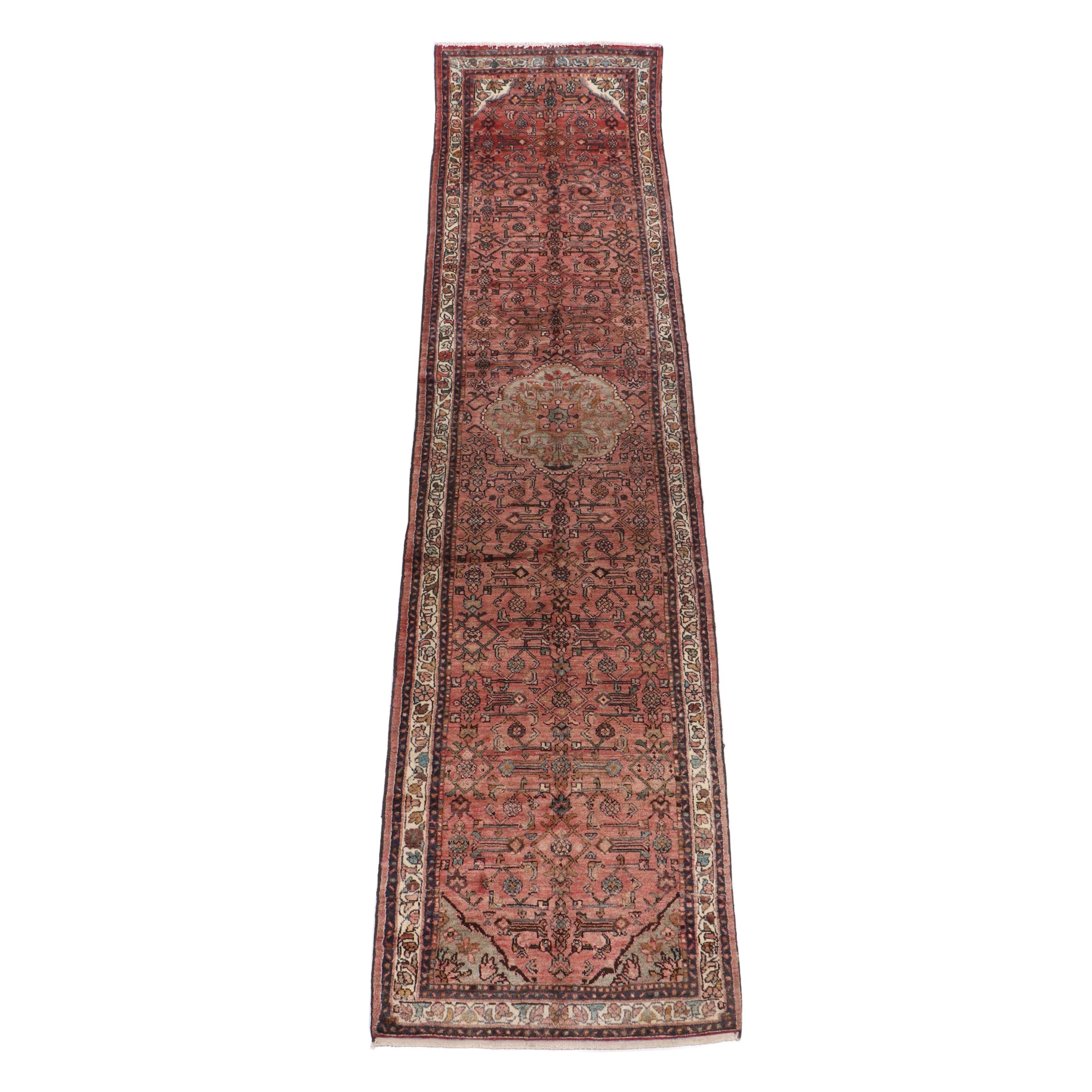 Hand-Knotted Persian Zanjan Wool Carpet Runner