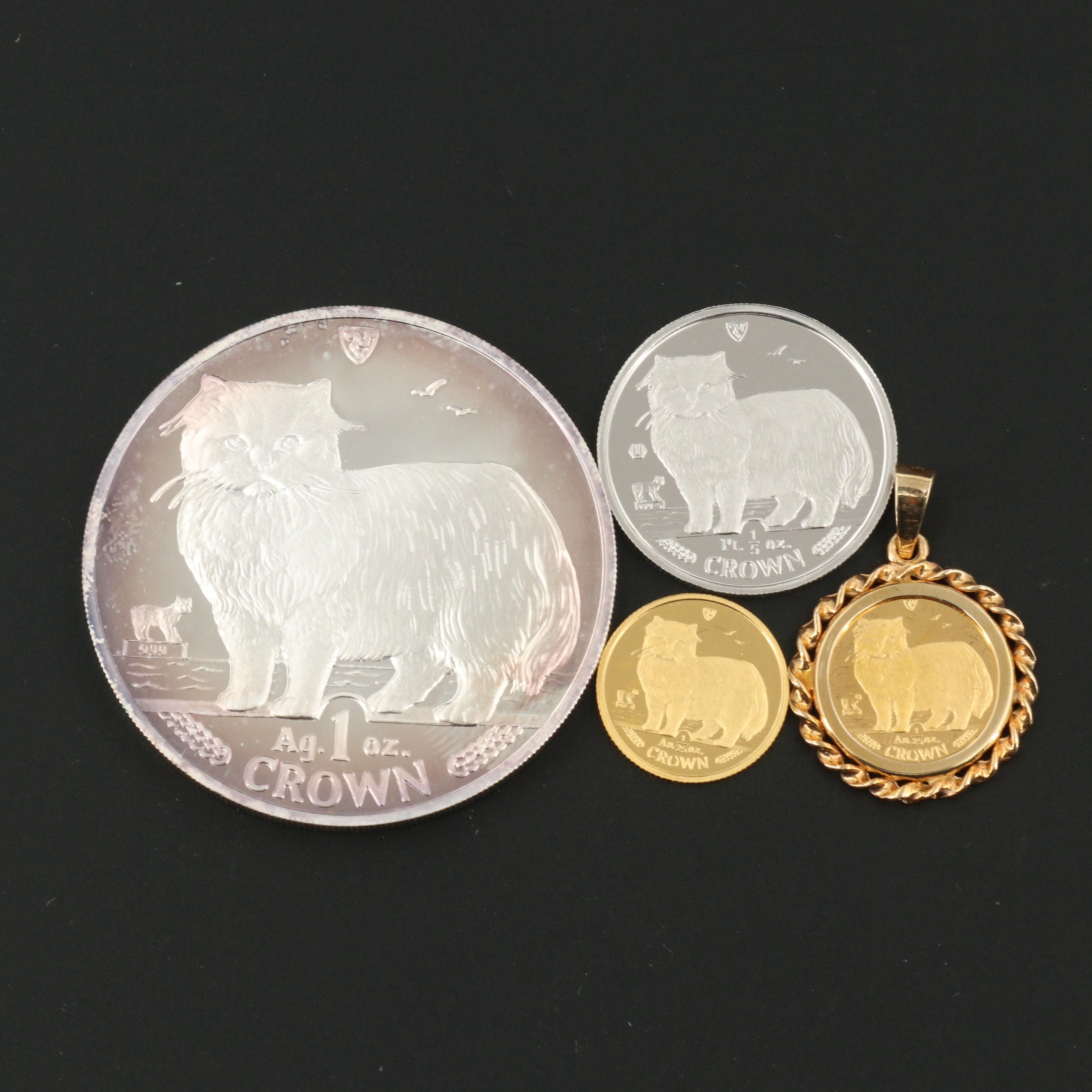 1989 Isle of Man Persian Cat Four-Coin Gold, Platinum and Silver Proof Set