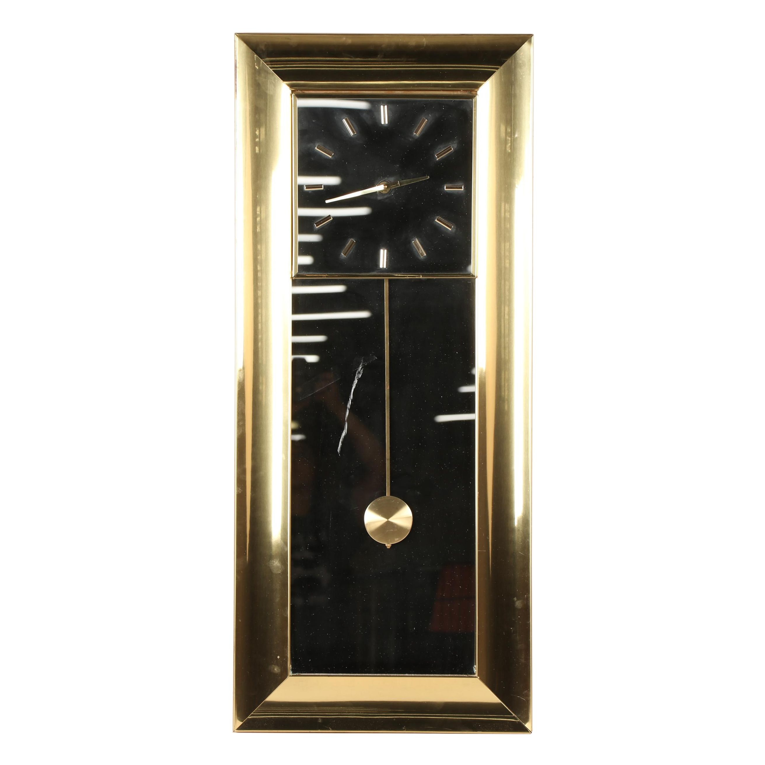 Brass Pendulum Wall Clock, Circa 1970