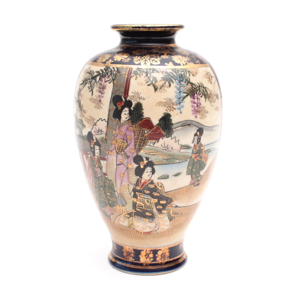 Japanese Painted Porcelain Vase, Early to Mid 20th Century