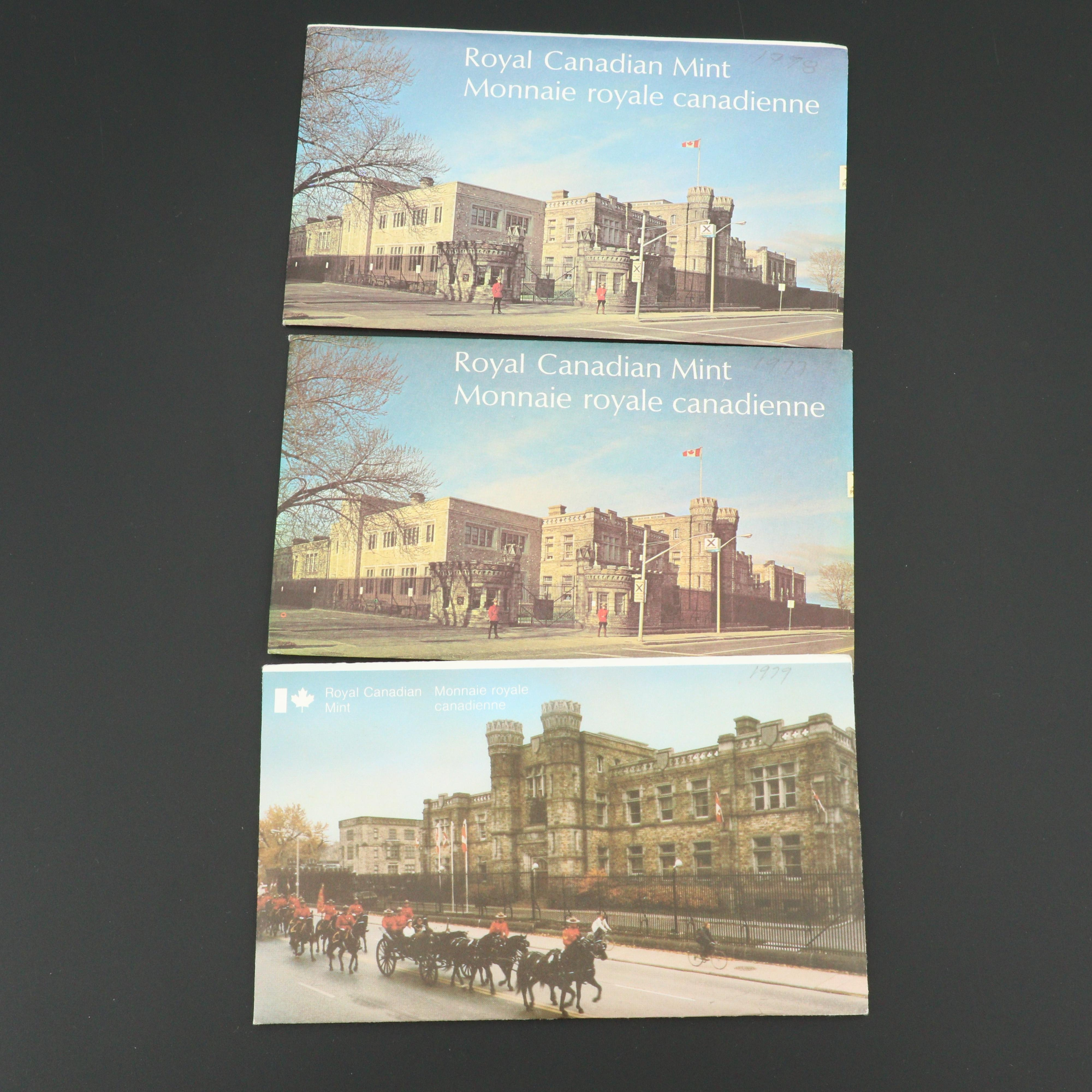 Three Royal Canadian Mint Uncirculated Sets, 1977 to 1979