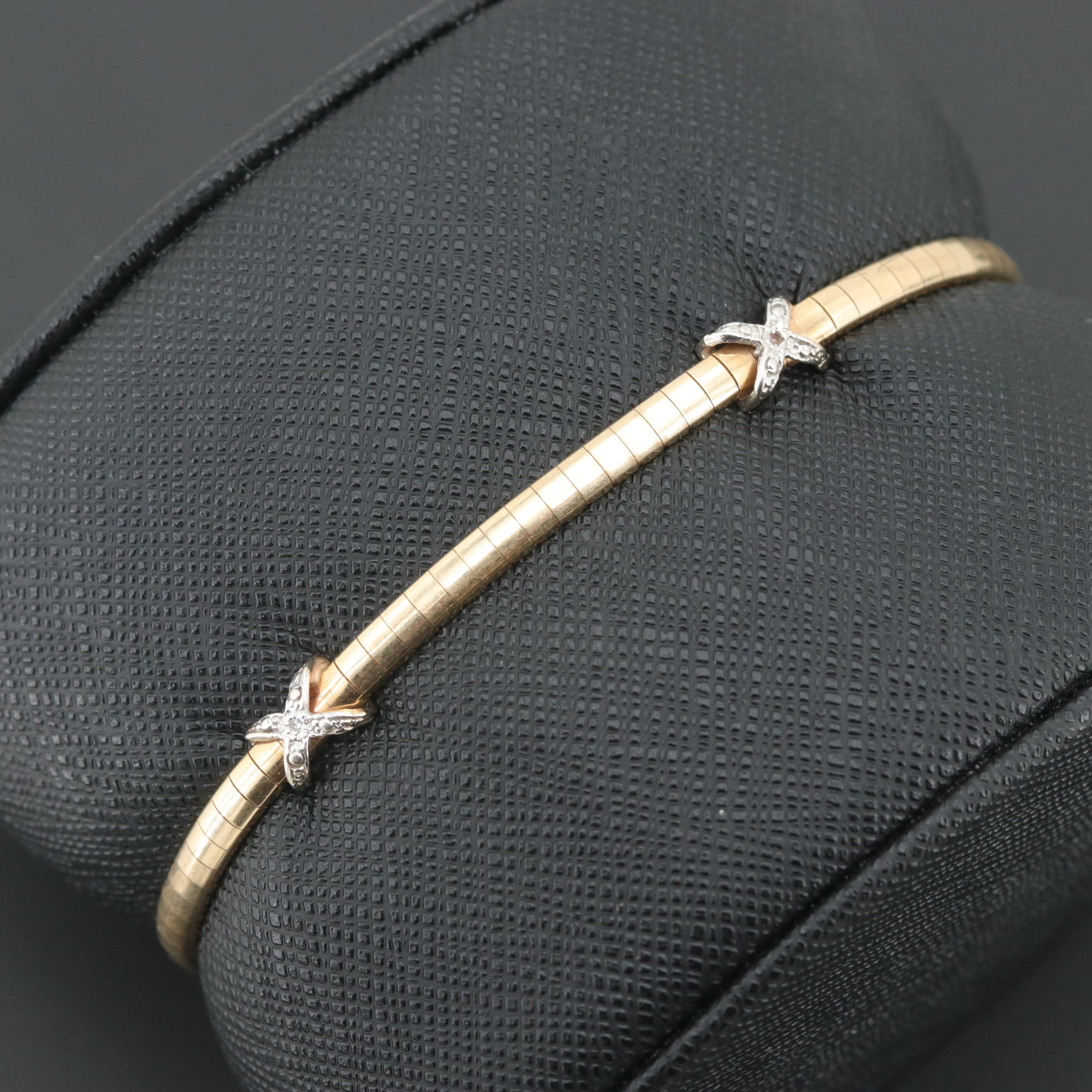 10K Yellow Gold Diamond Bracelet with White Gold Accents