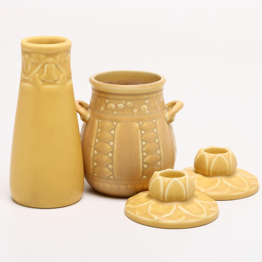 Rookwood Matte Glazed Bud Vase, Candleholders and Vessel, Early 20th Century