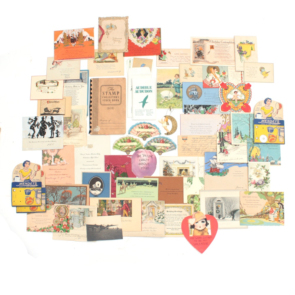 Early to Mid 20th Century Postcards and Holiday Cards