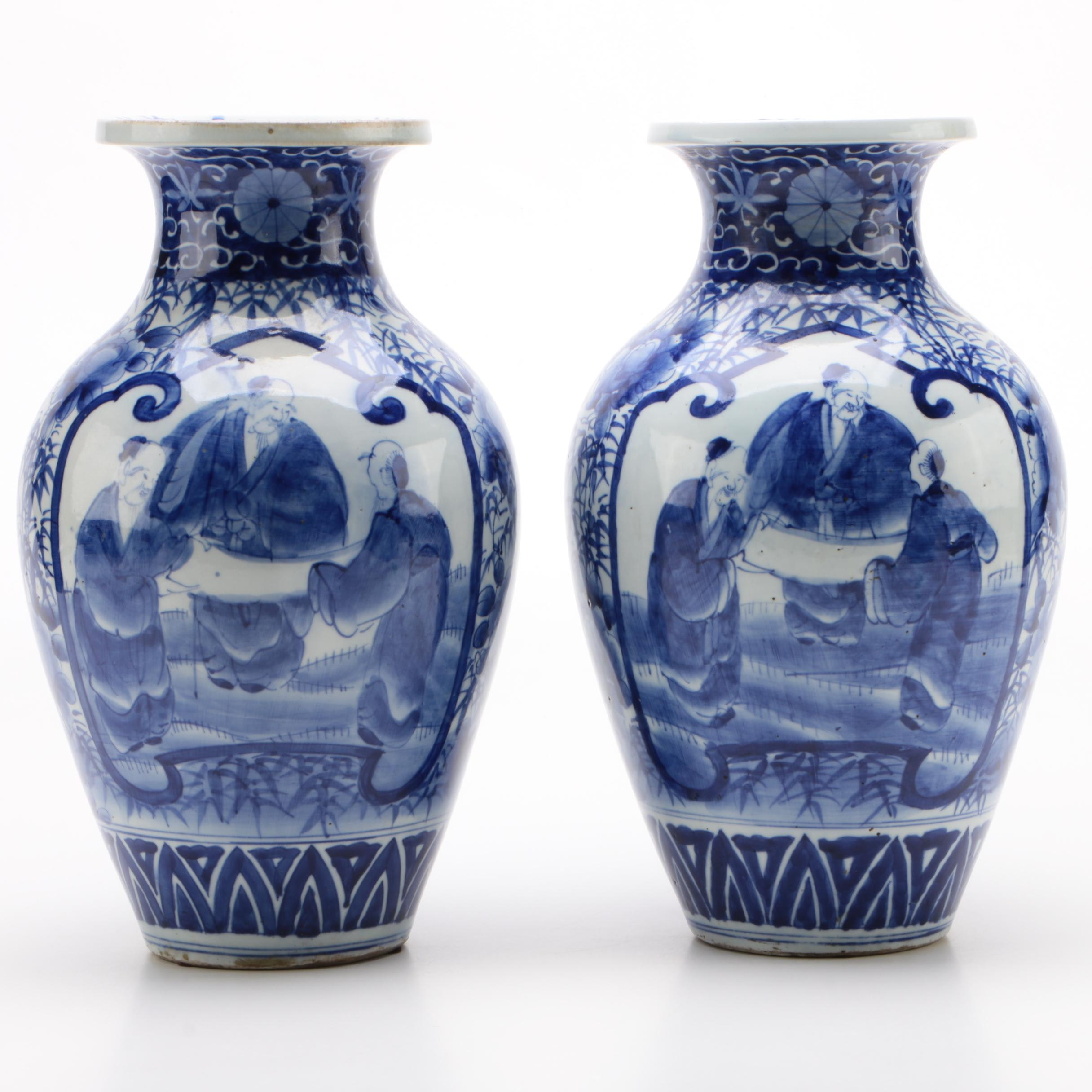 Pair of Chinese Canton Blue and White Porcelain Vases, Late 19th Century