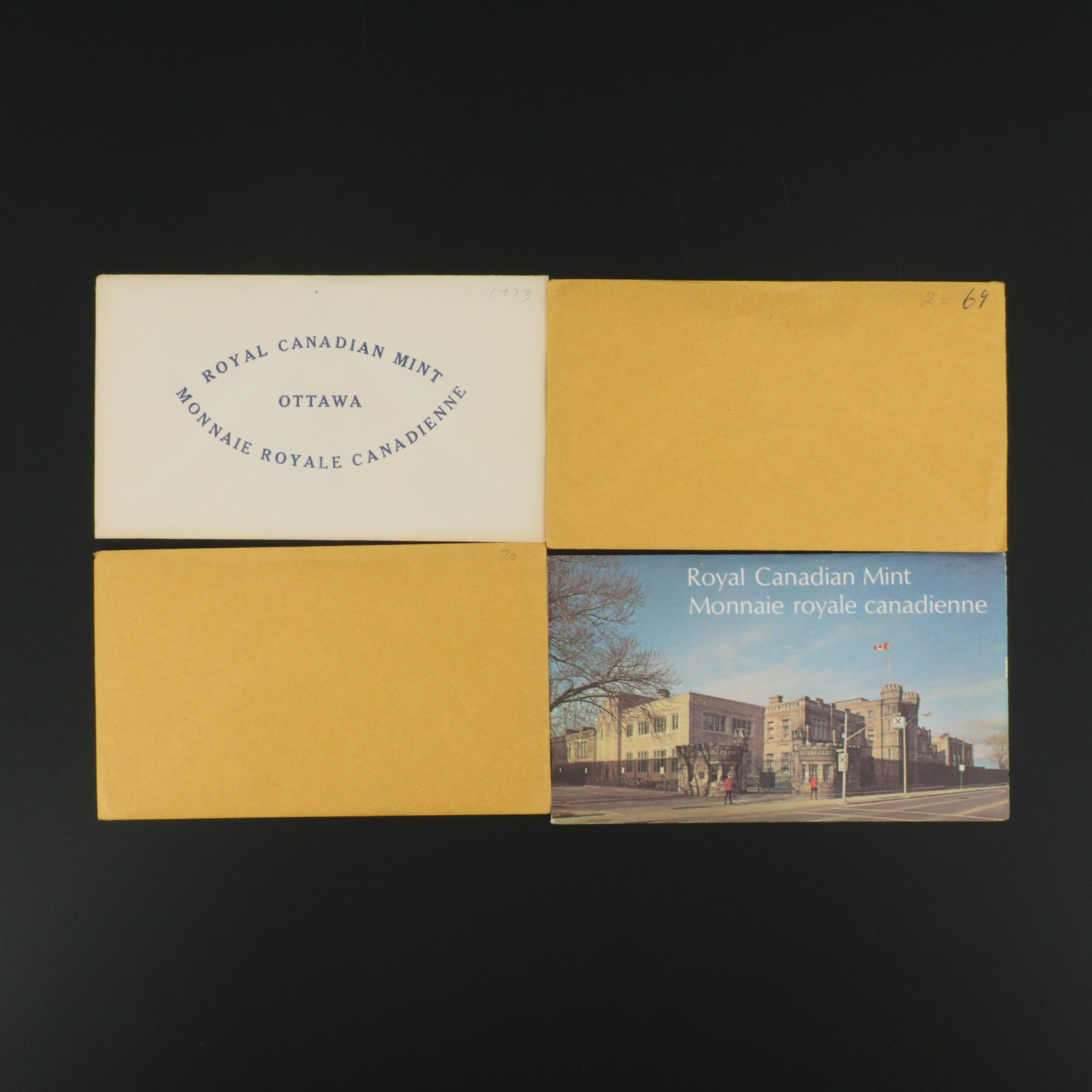 Four Royal Canadian Mint Uncirculated Sets, 1969 to 1974