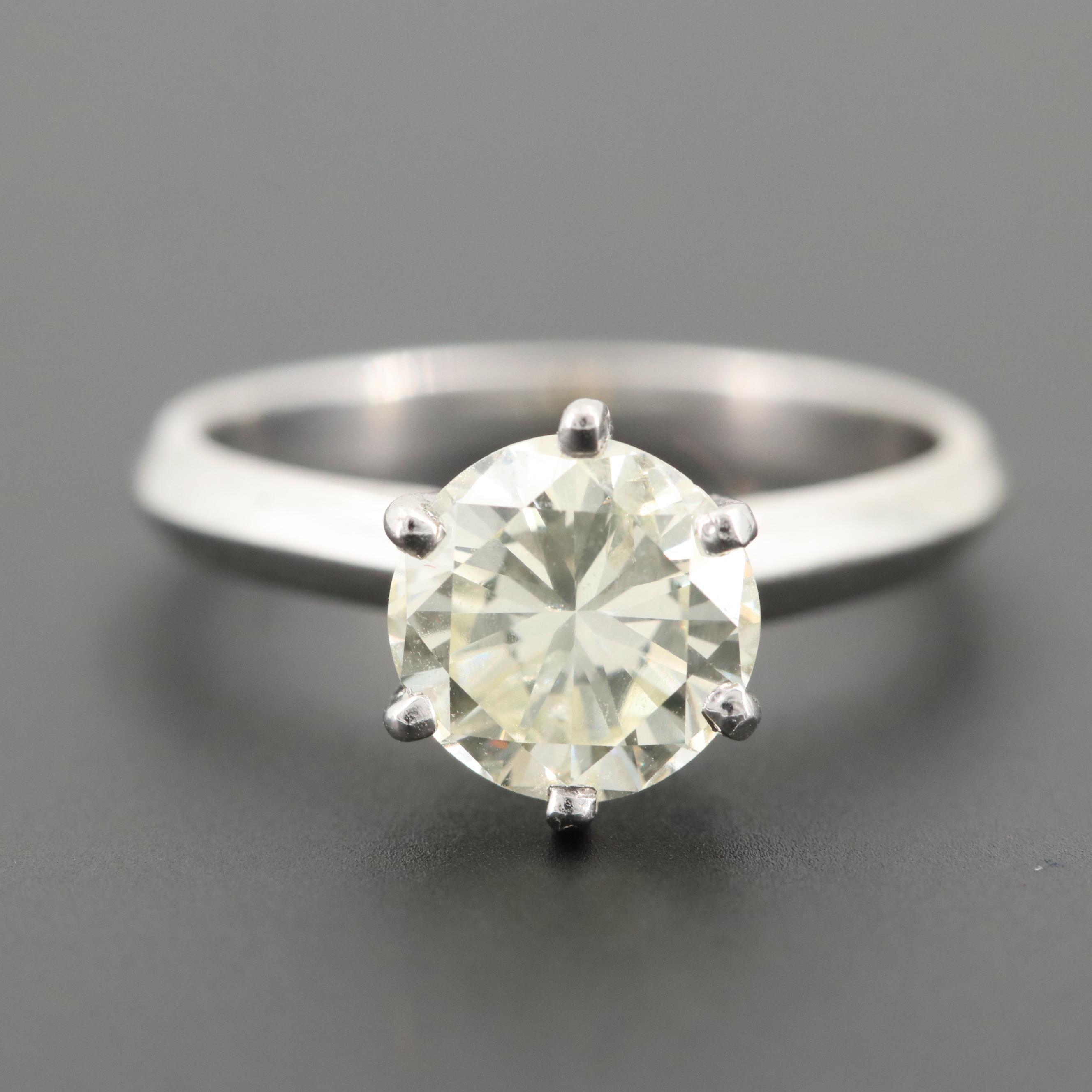 Platinum 1.58 CT Diamond Solitaire Ring