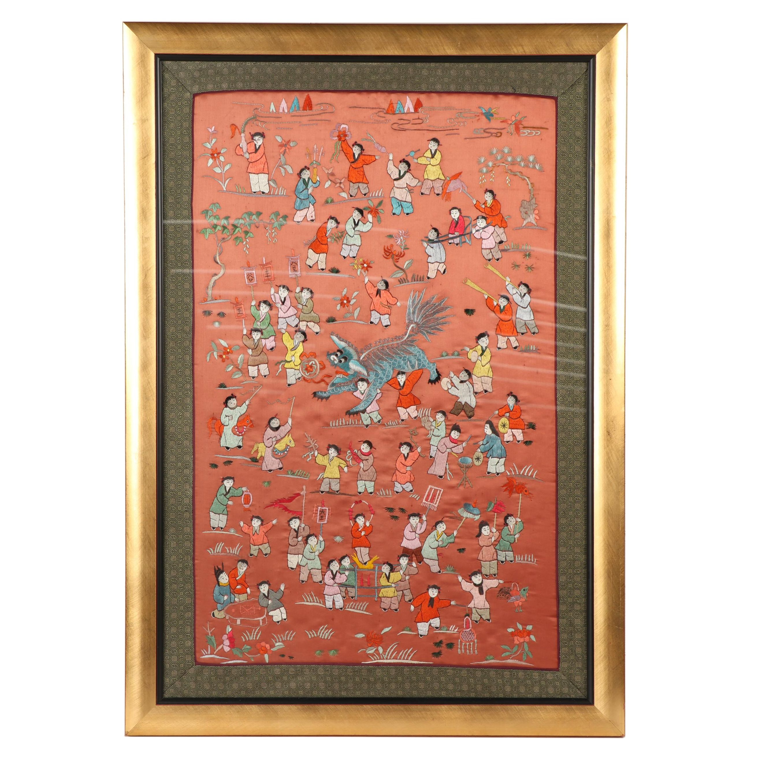"""Chinese Silk Embroidered Panel """"100 Boys"""""""