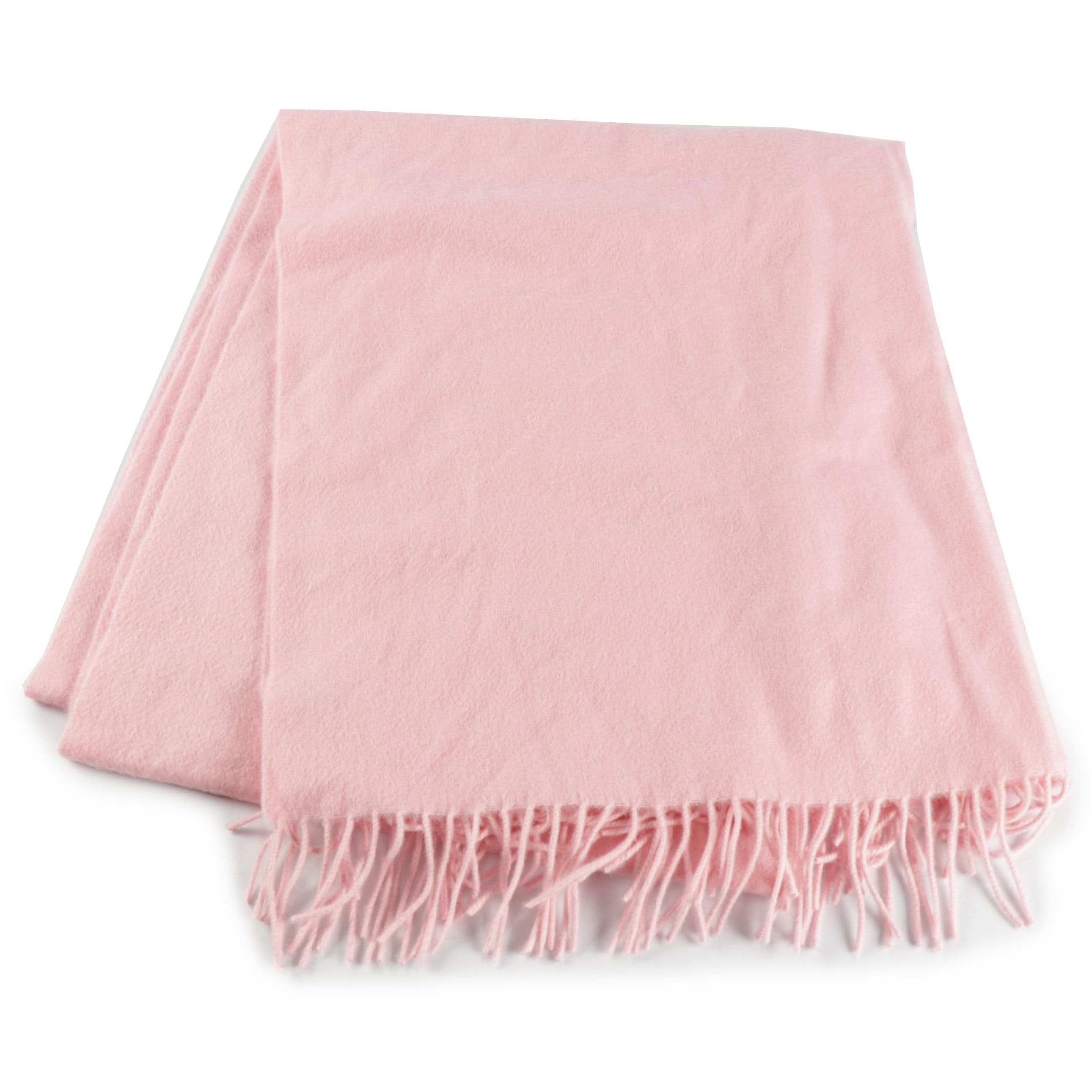 Tiffany & Co. Italian Pink Cashmere and Wool Blend Fringed Scarf