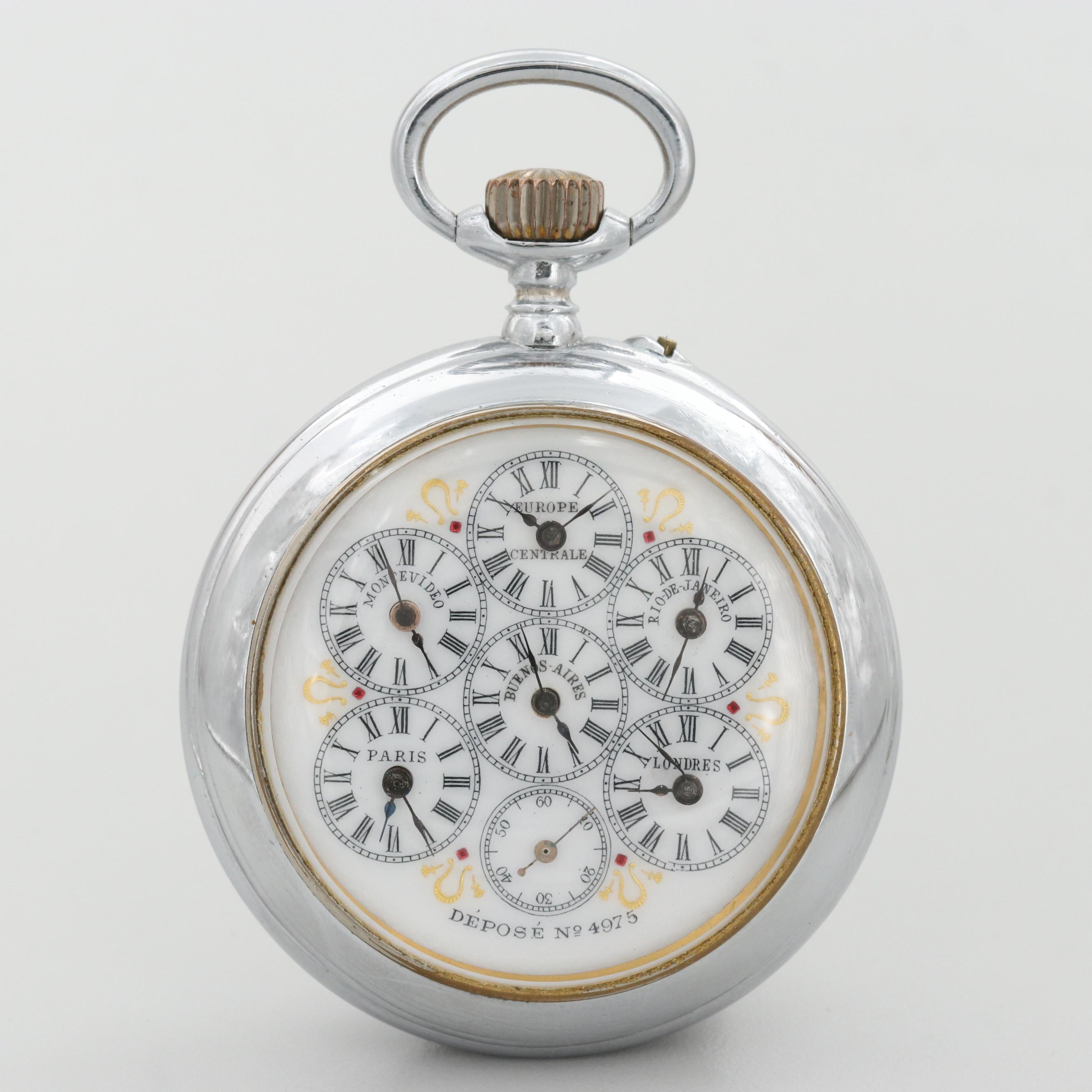 Antique Swiss Six City World Time Silver Tone Open Face Pocket Watch, Circa 1890