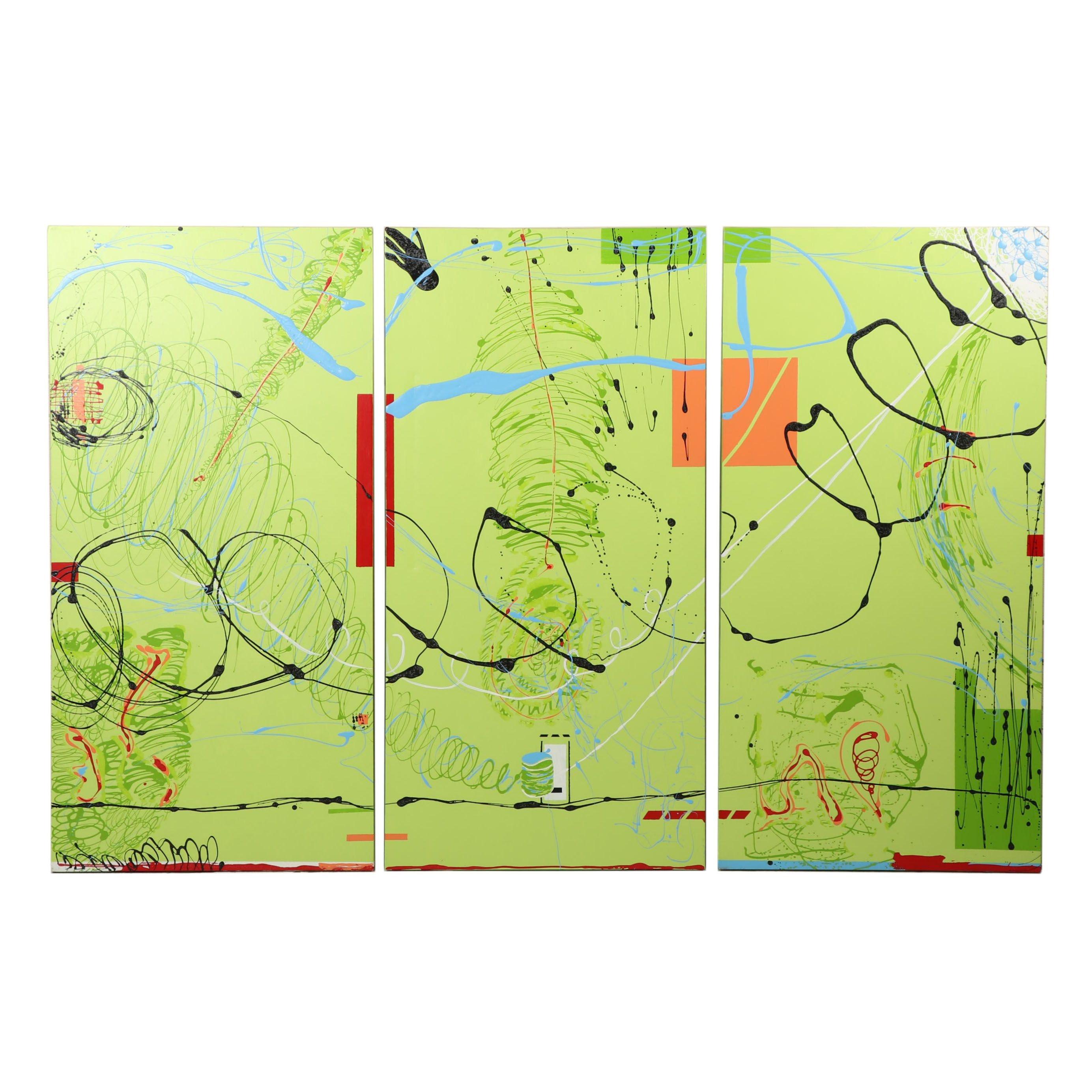 Carol Loney Abstract Acrylic Triptych
