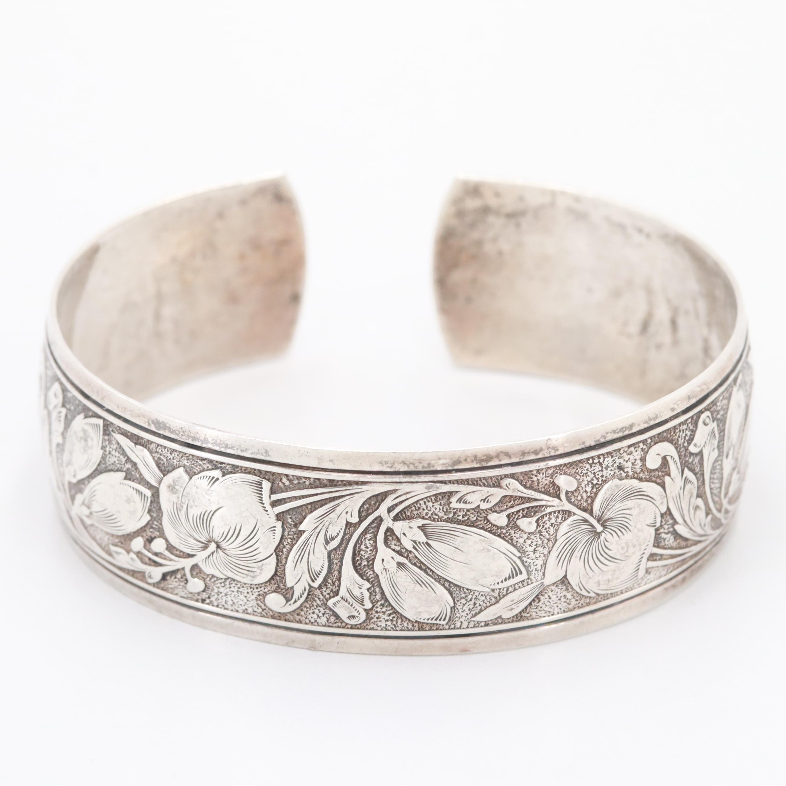 Danecraft Sterling Silver Floral Embossed Cuff Bracelet