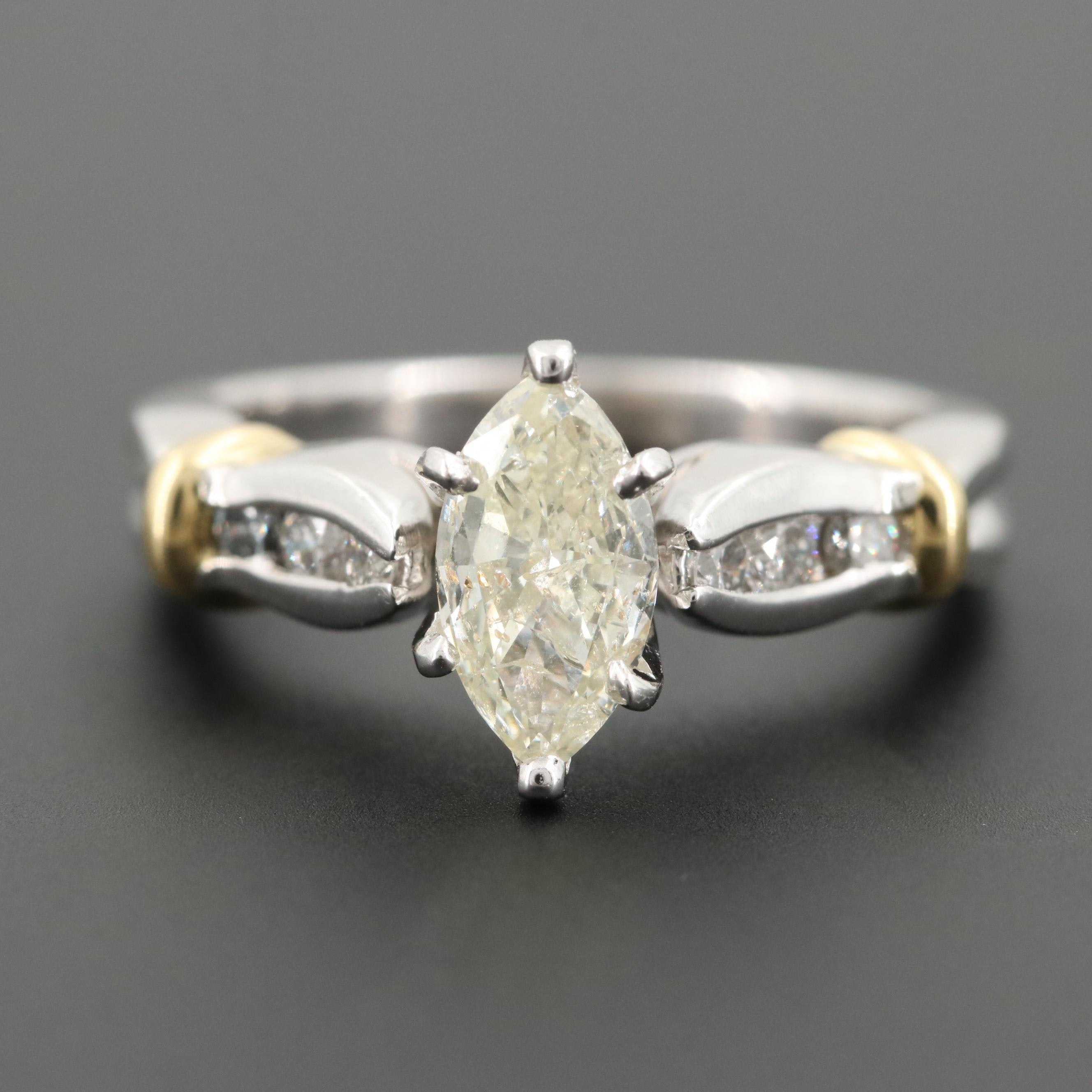Platinum Diamond Ring with 18K Yellow Gold Accents