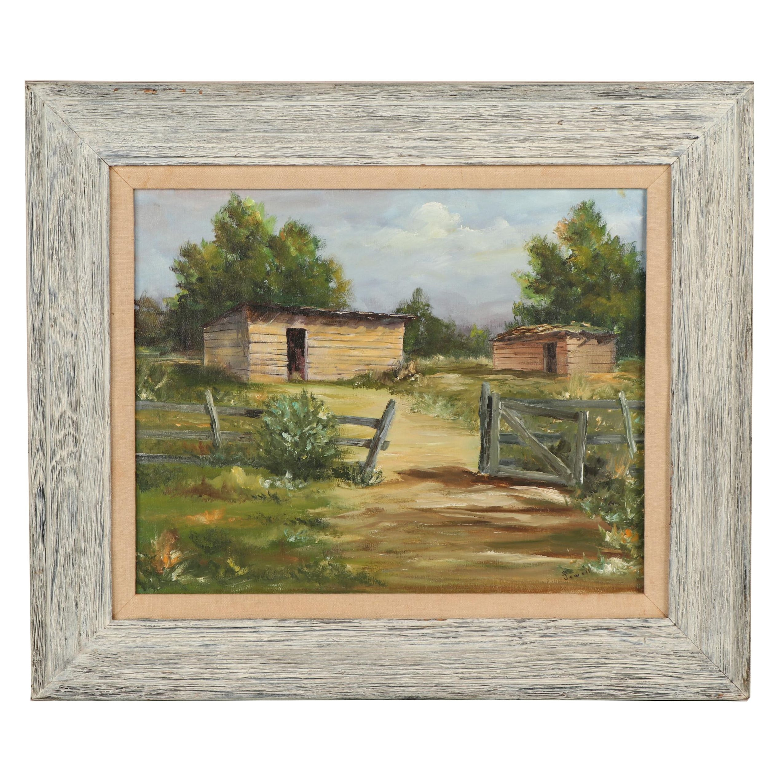Barn Landscape Oil Painting
