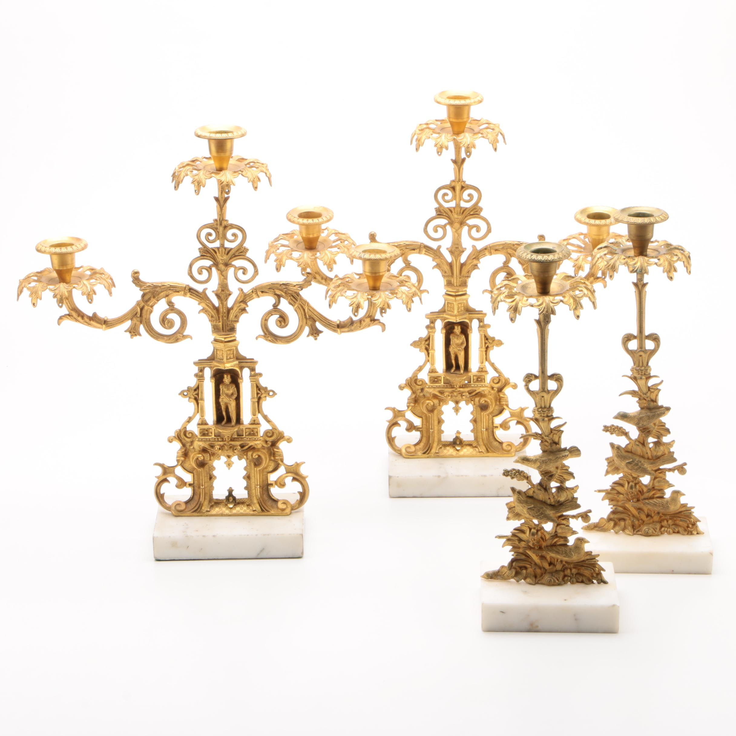 Four Piece Girondole Suite in Gilt Finish with Figural Knights, 19th Century