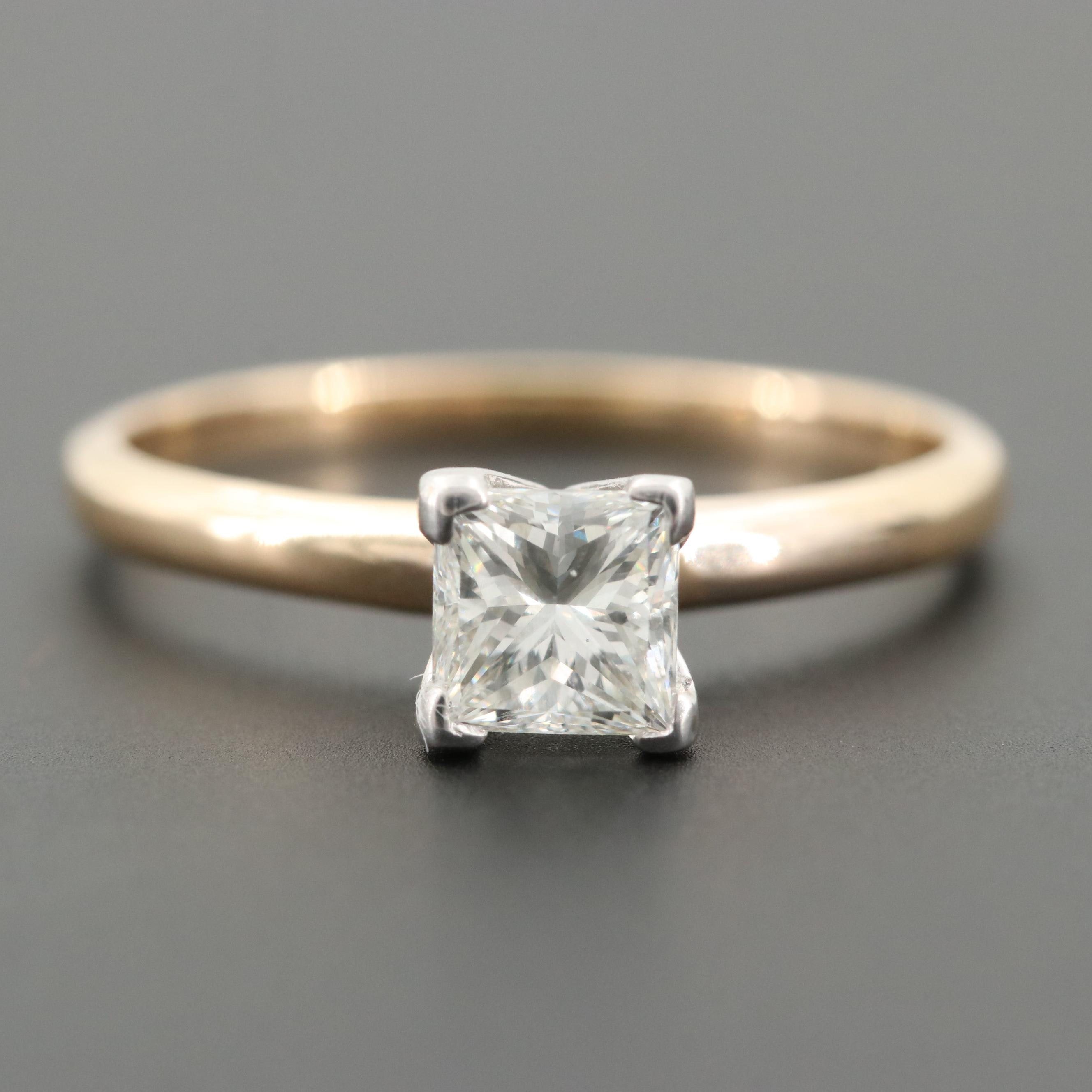14K White Gold Diamond Solitaire Ring with GIA Dossier Report