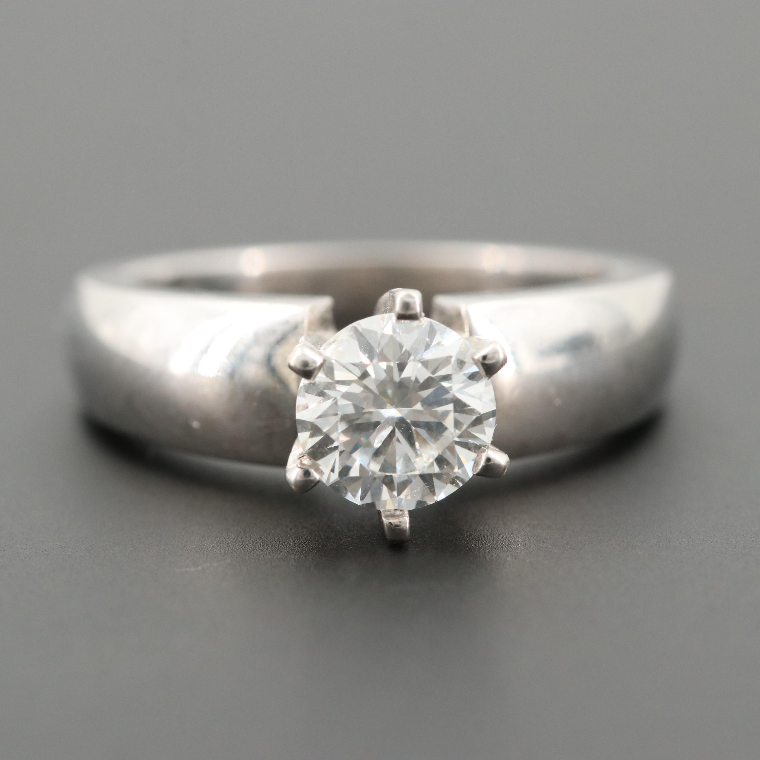 Platinum 0.99 CT Diamond Ring with 14K White Gold Head