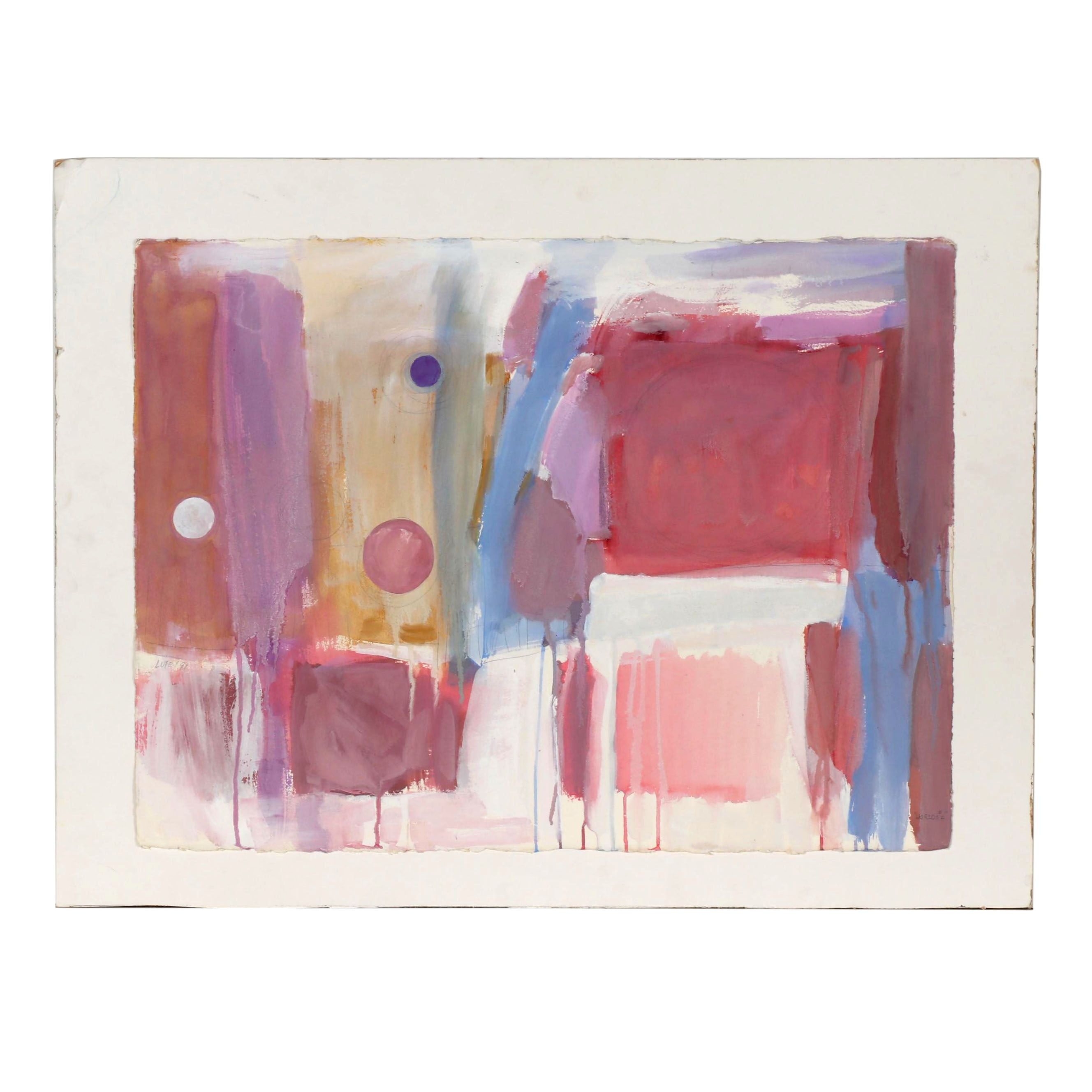 """Abstract Gouache Painting """"Worlds #2"""""""