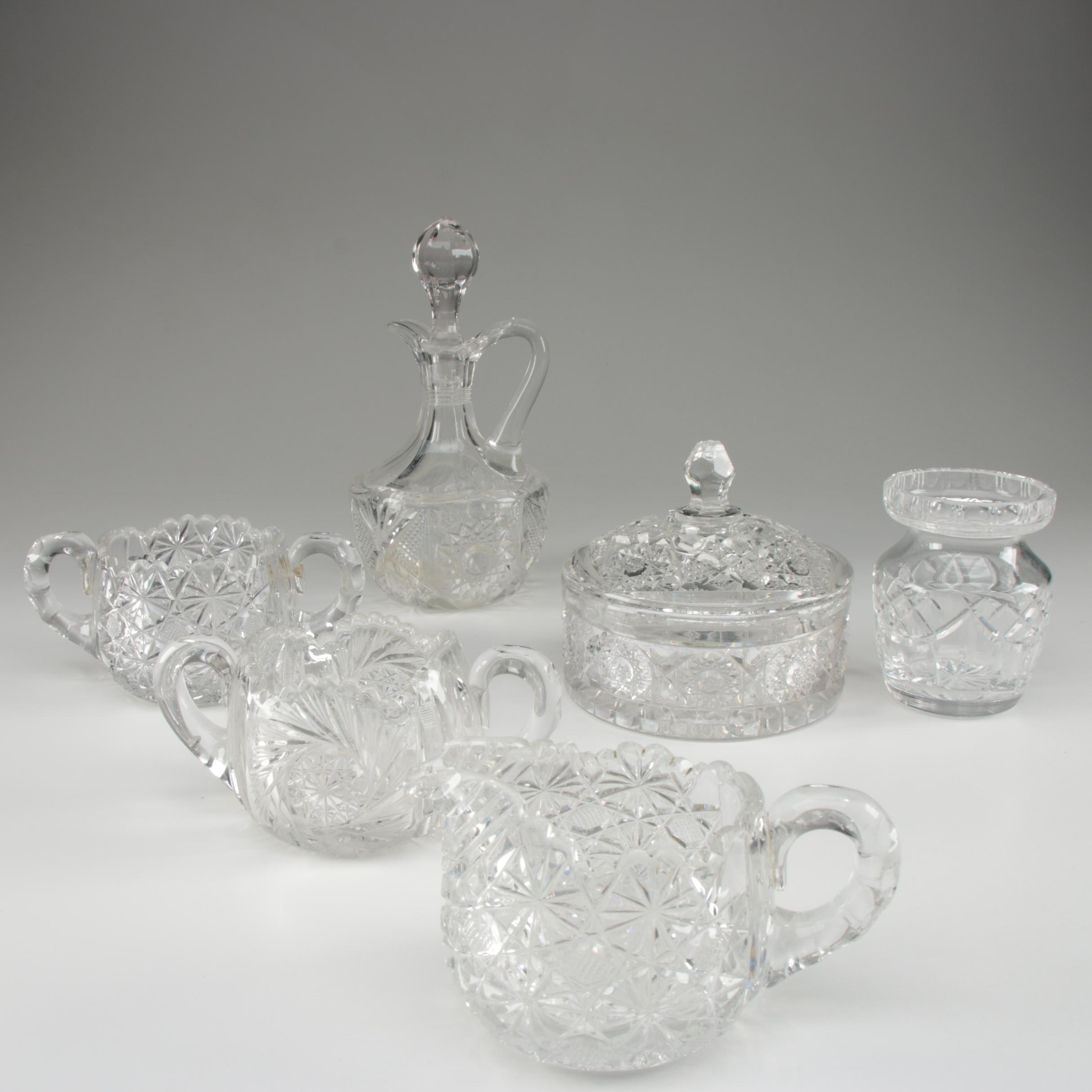 American Brilliant Period Cut Glass Tableware with Waterford Crystal Jam Pot