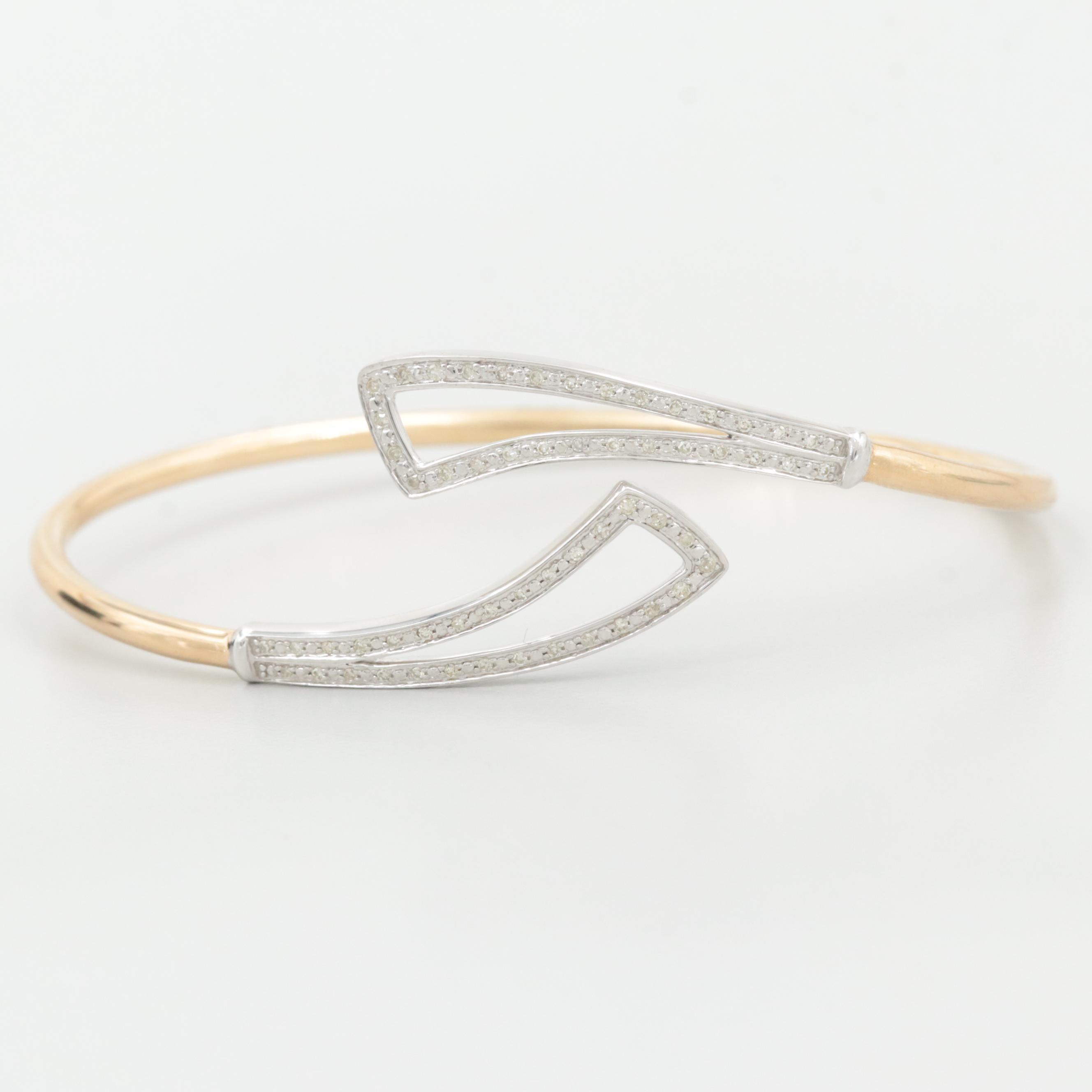 10K Yellow and White Gold Diamond Bracelet