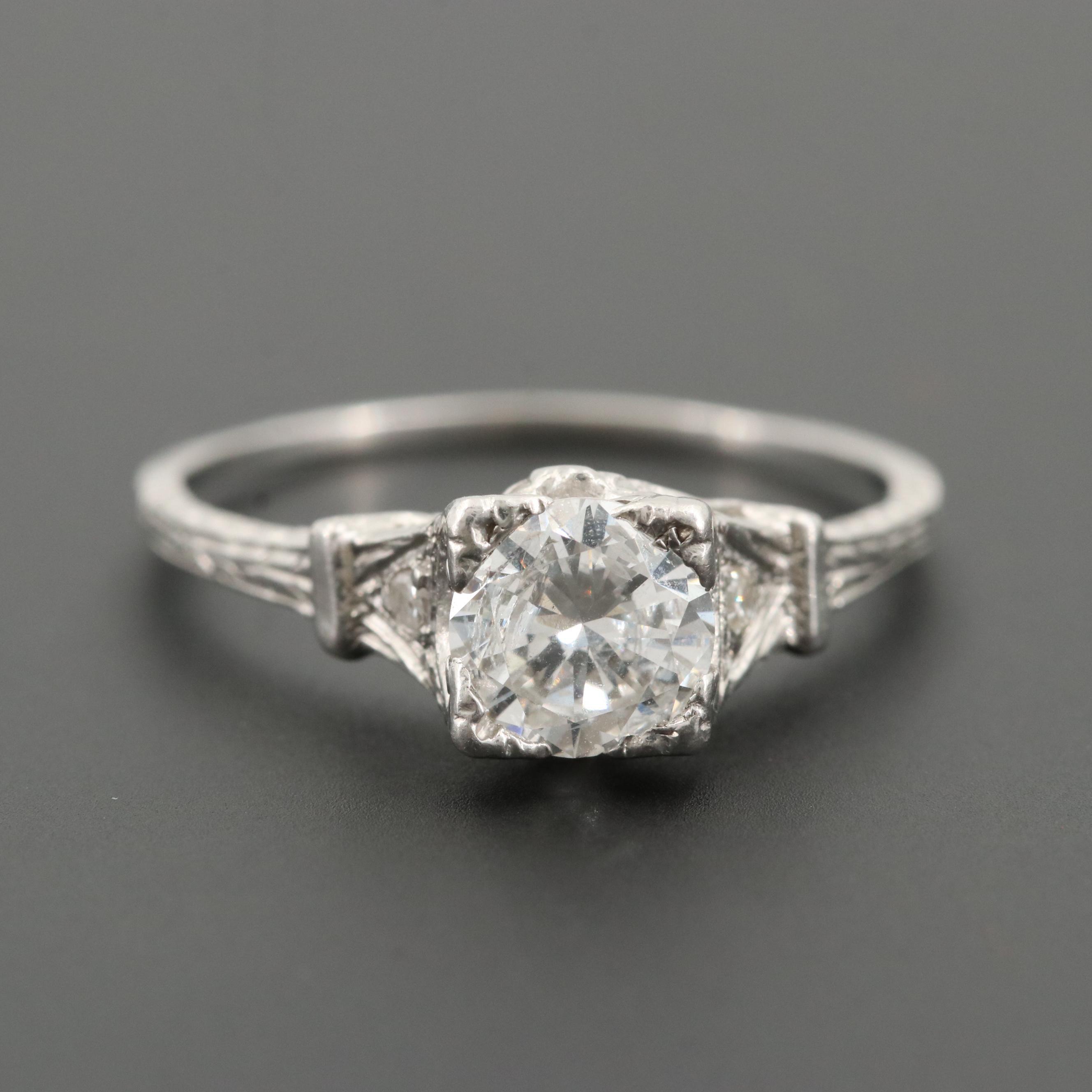 Platinum 0.97 CTW Diamond Ring