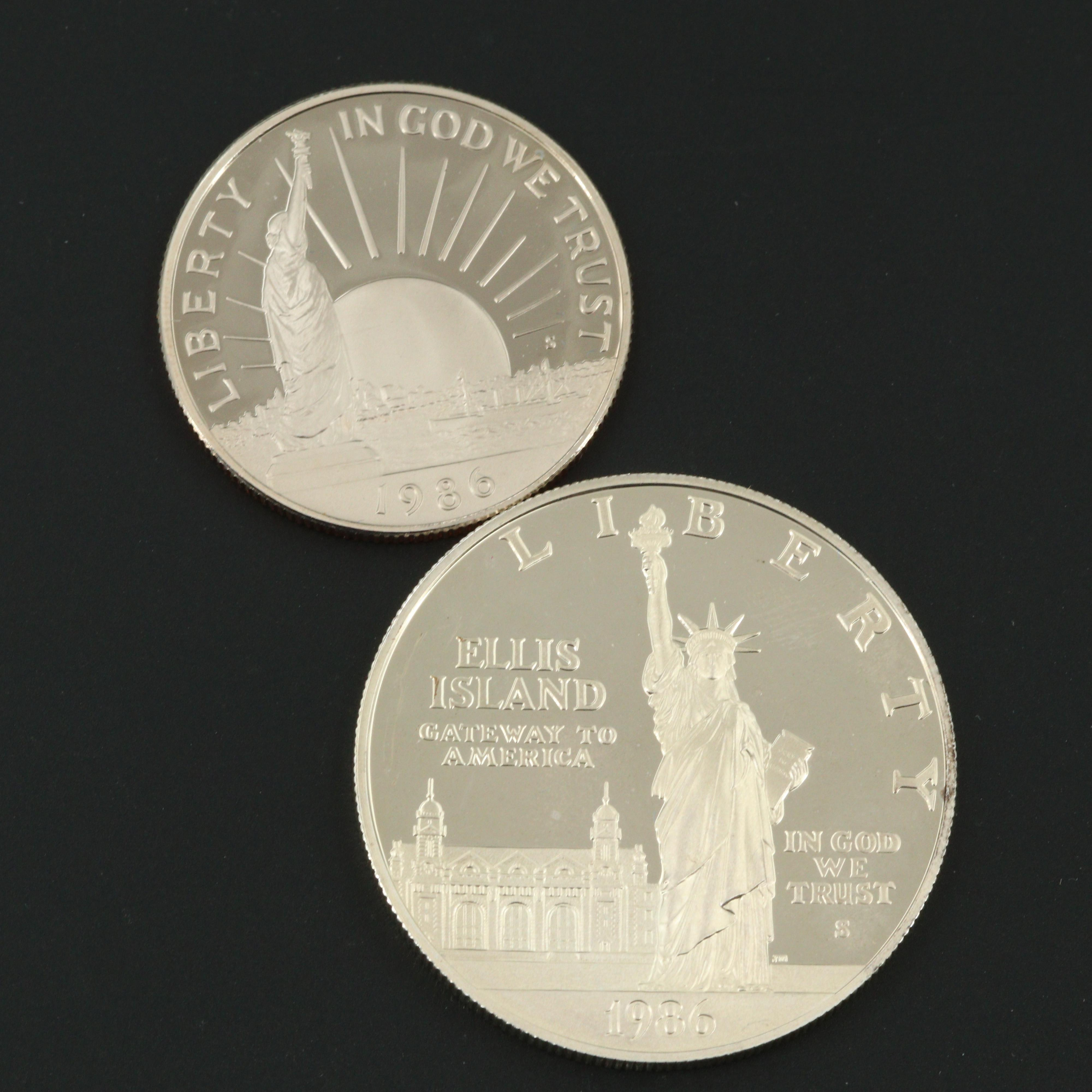 U.S. Mint 1986 Statue of Liberty Commemorative Two-Coin Proof Set