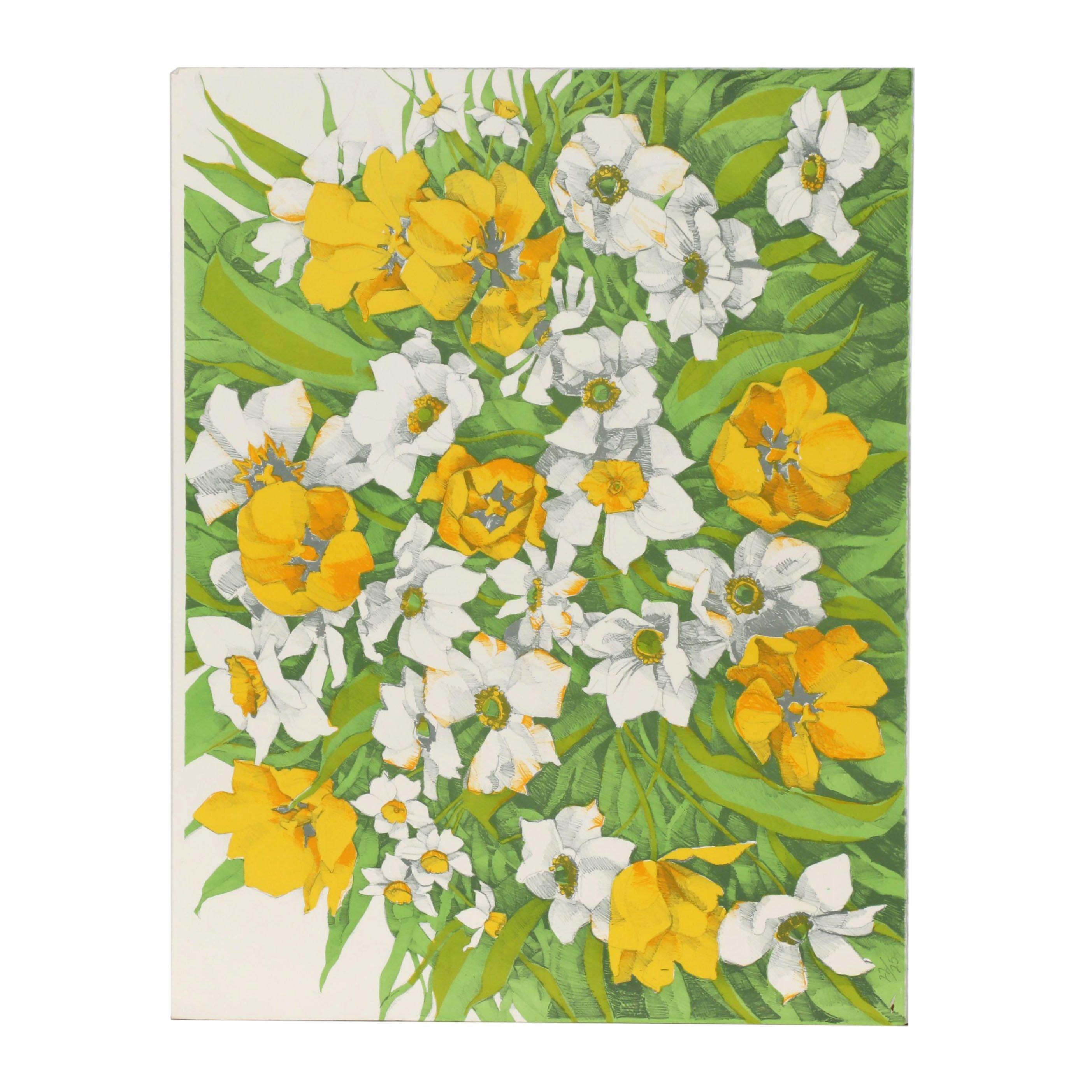 Jack Baker Floral Color Lithograph