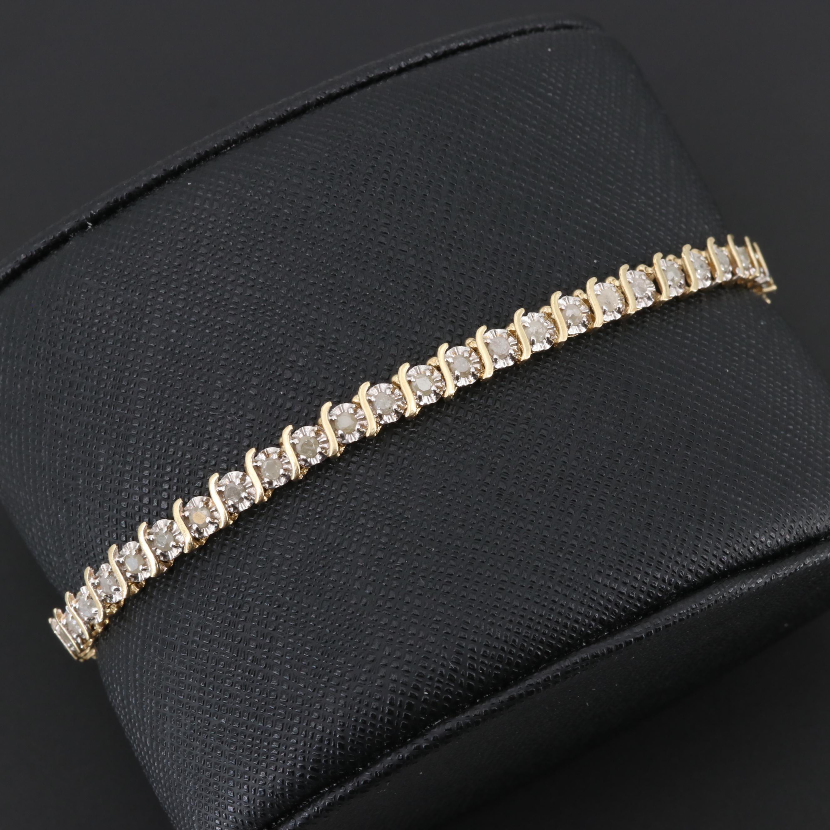 10K Yellow Gold 1.50 CTW Diamond Bracelet