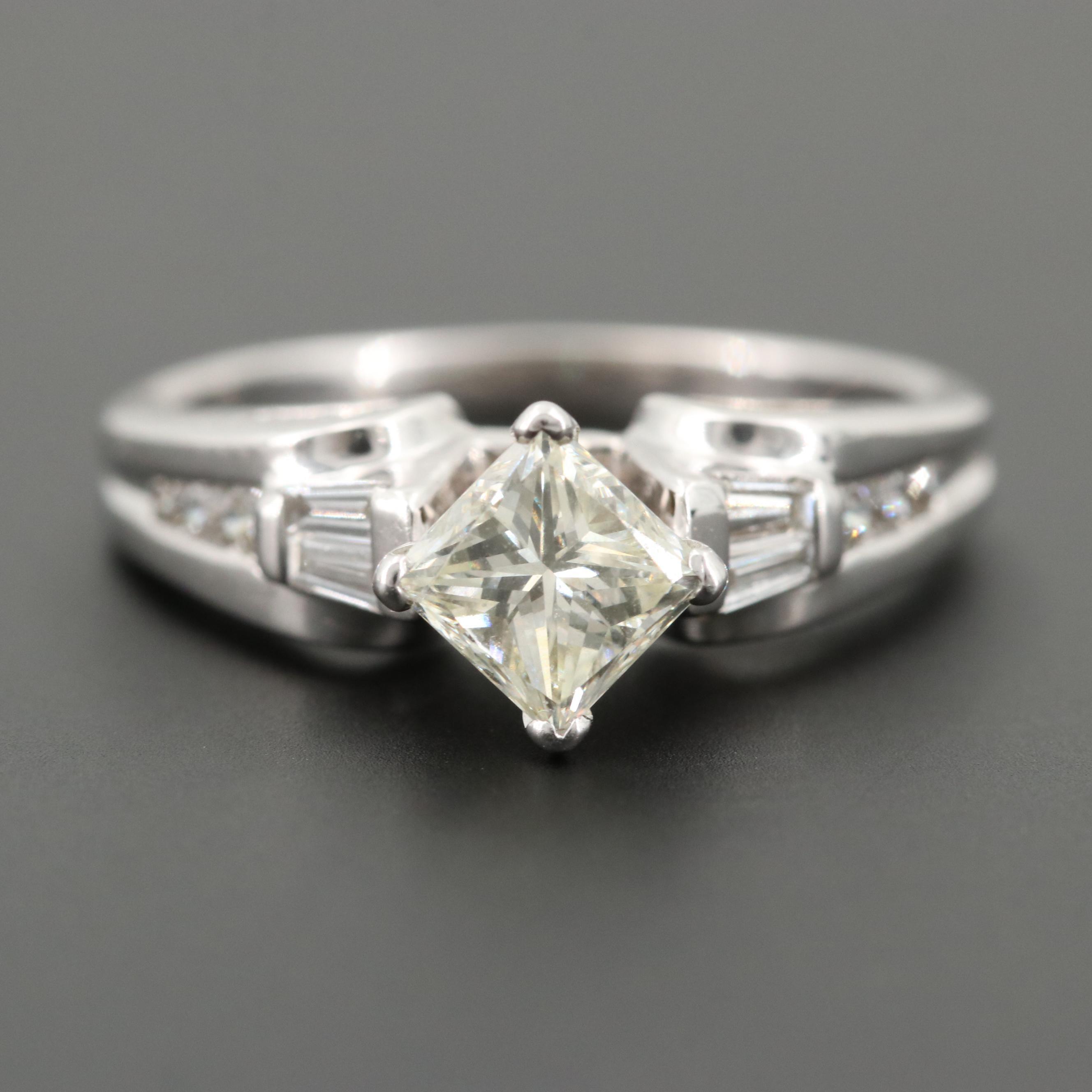 14K White Gold 1.07 CTW Diamond Ring