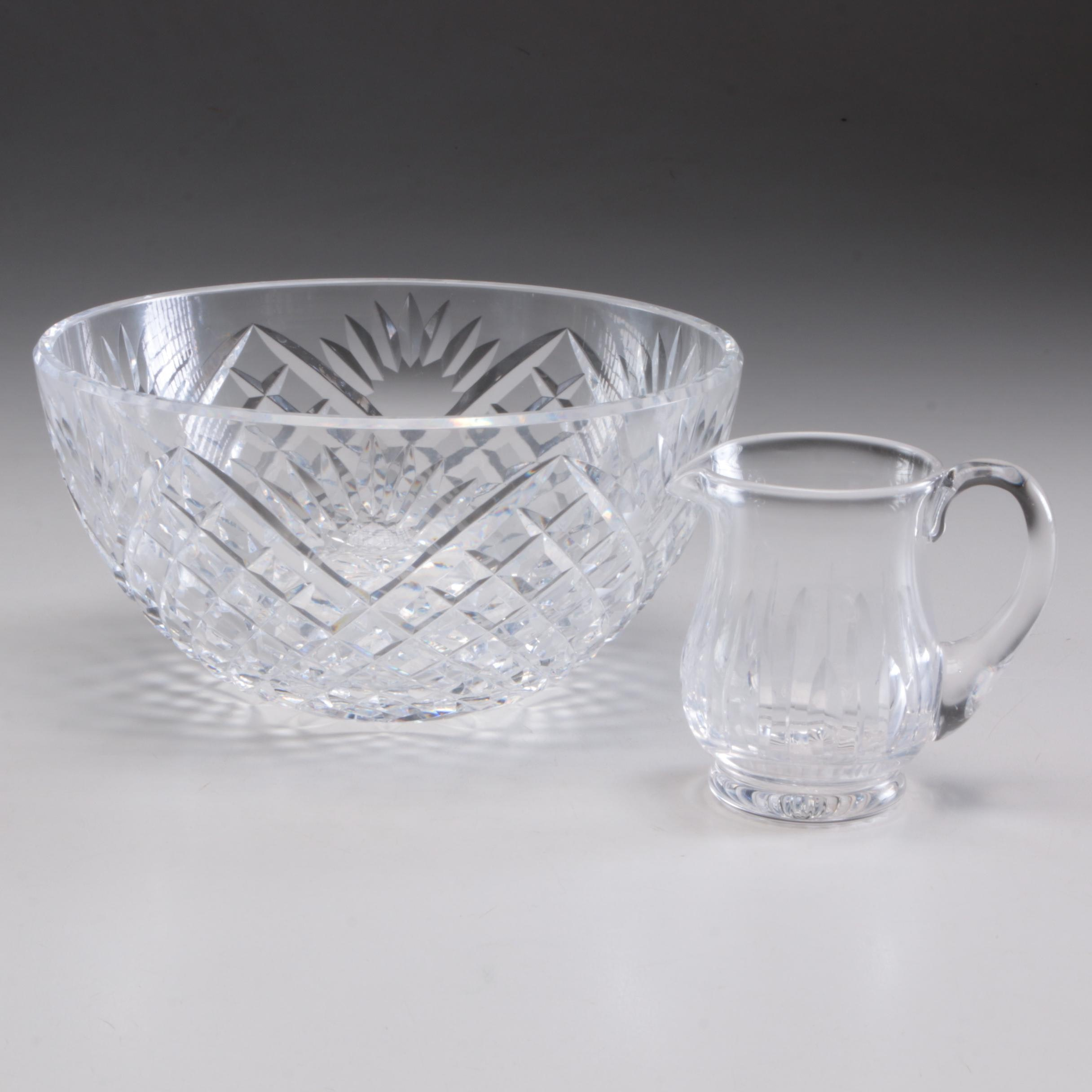 "Waterford Crystal ""Innisfree"" 8"" Bowl and Stuart Creamer"