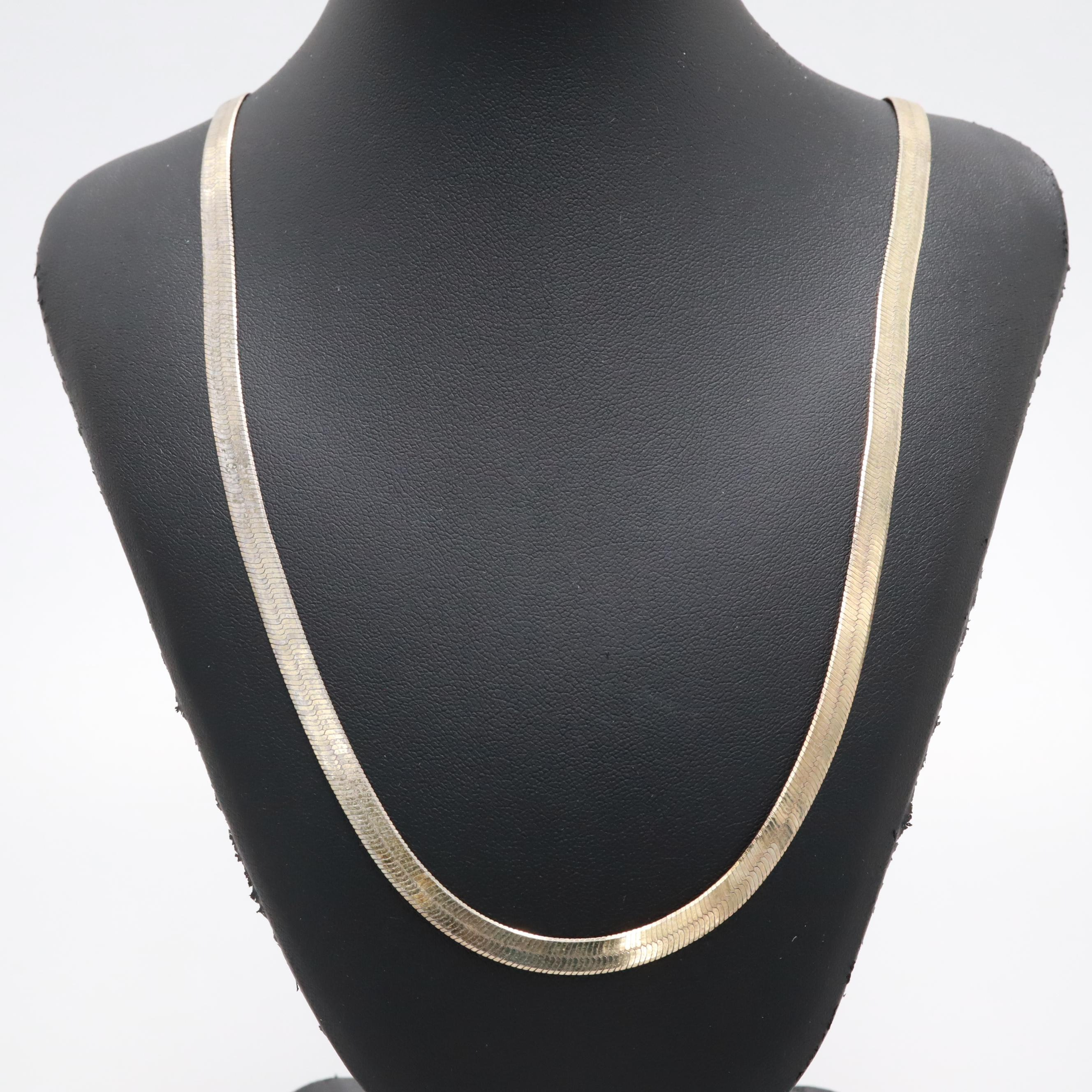 Gold Wash on Sterling Silver Herringbone Necklace