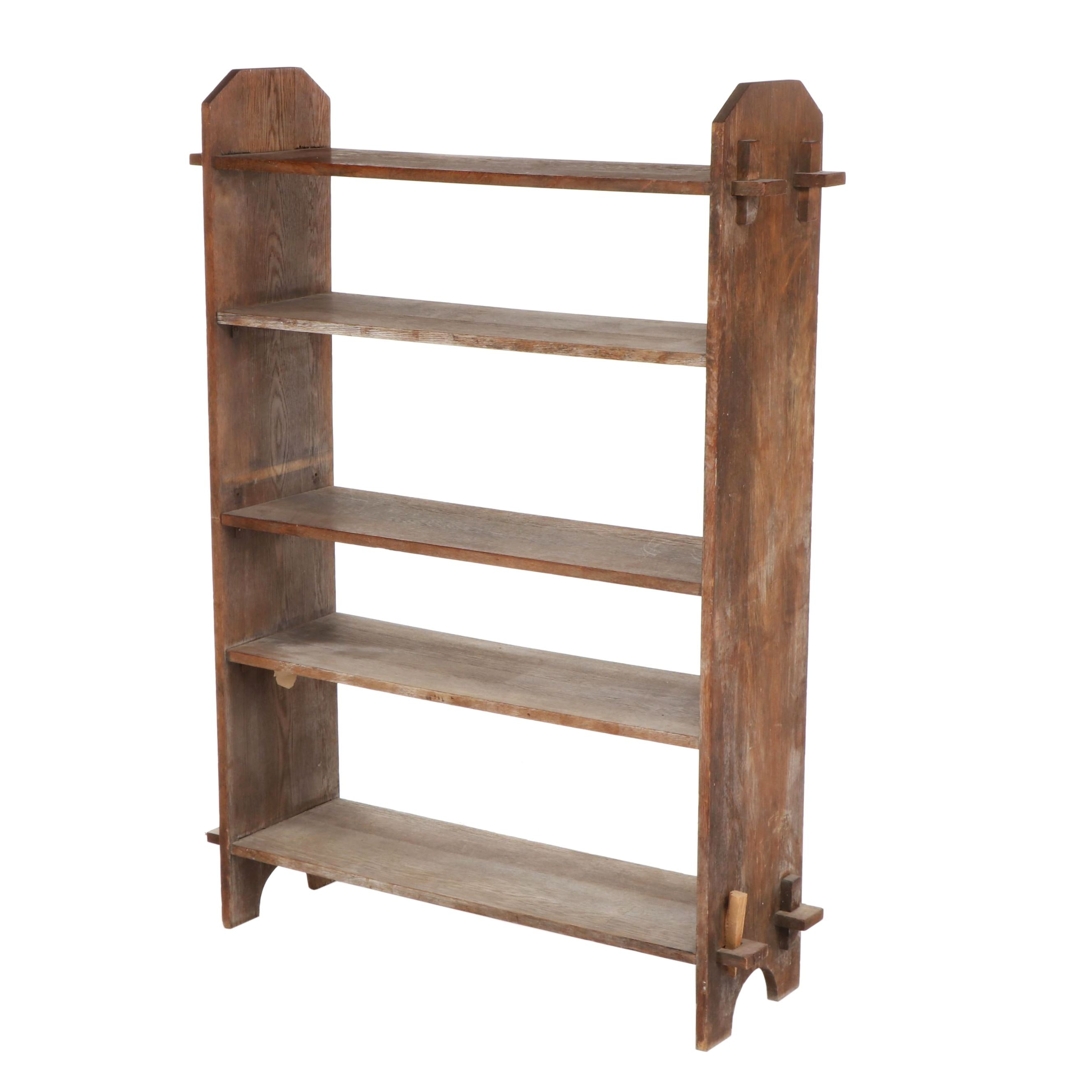 Contemporary Rustic East Asian Wooden Open Bookshelf