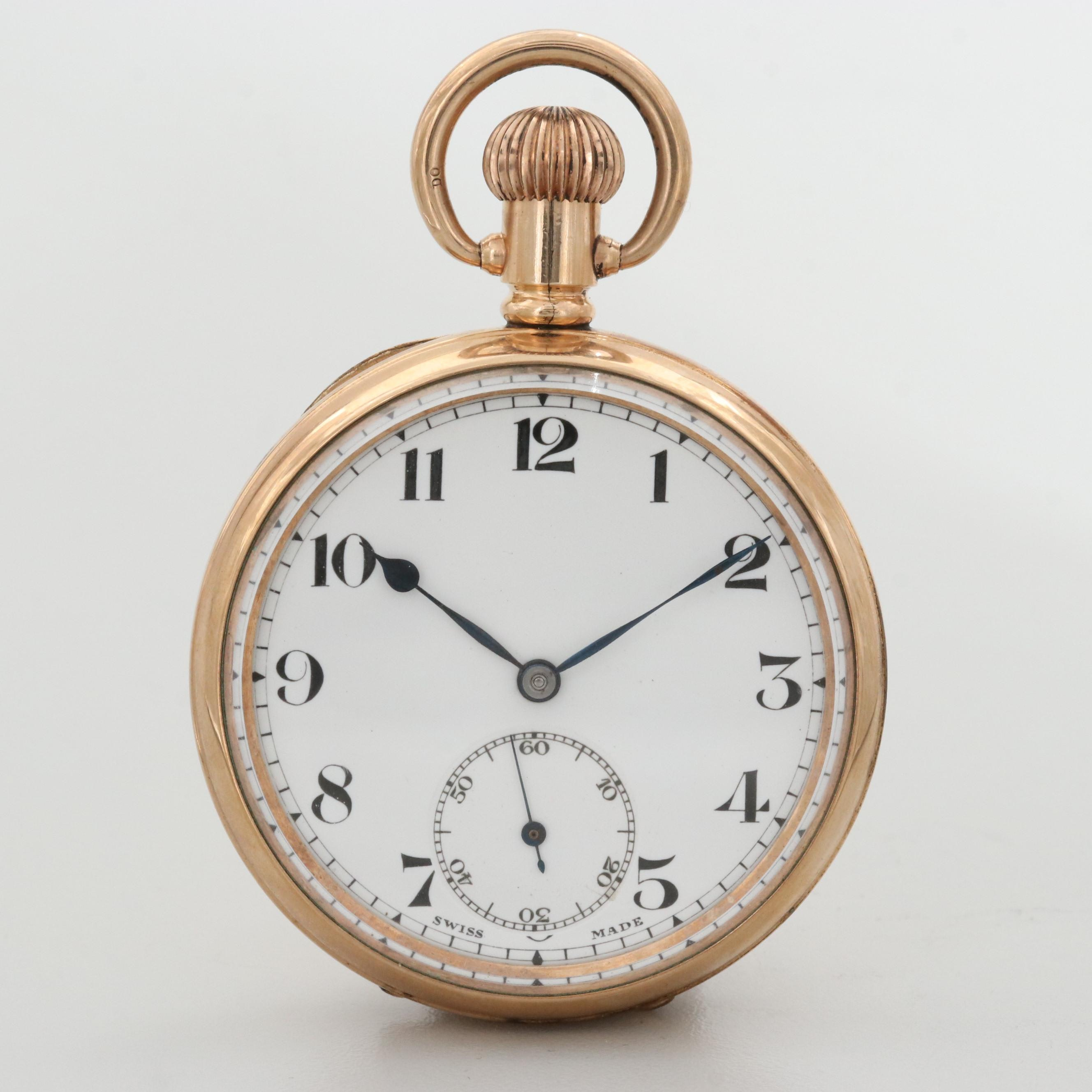 Vintage Swiss Gold Filled Open Face Pocket Watch